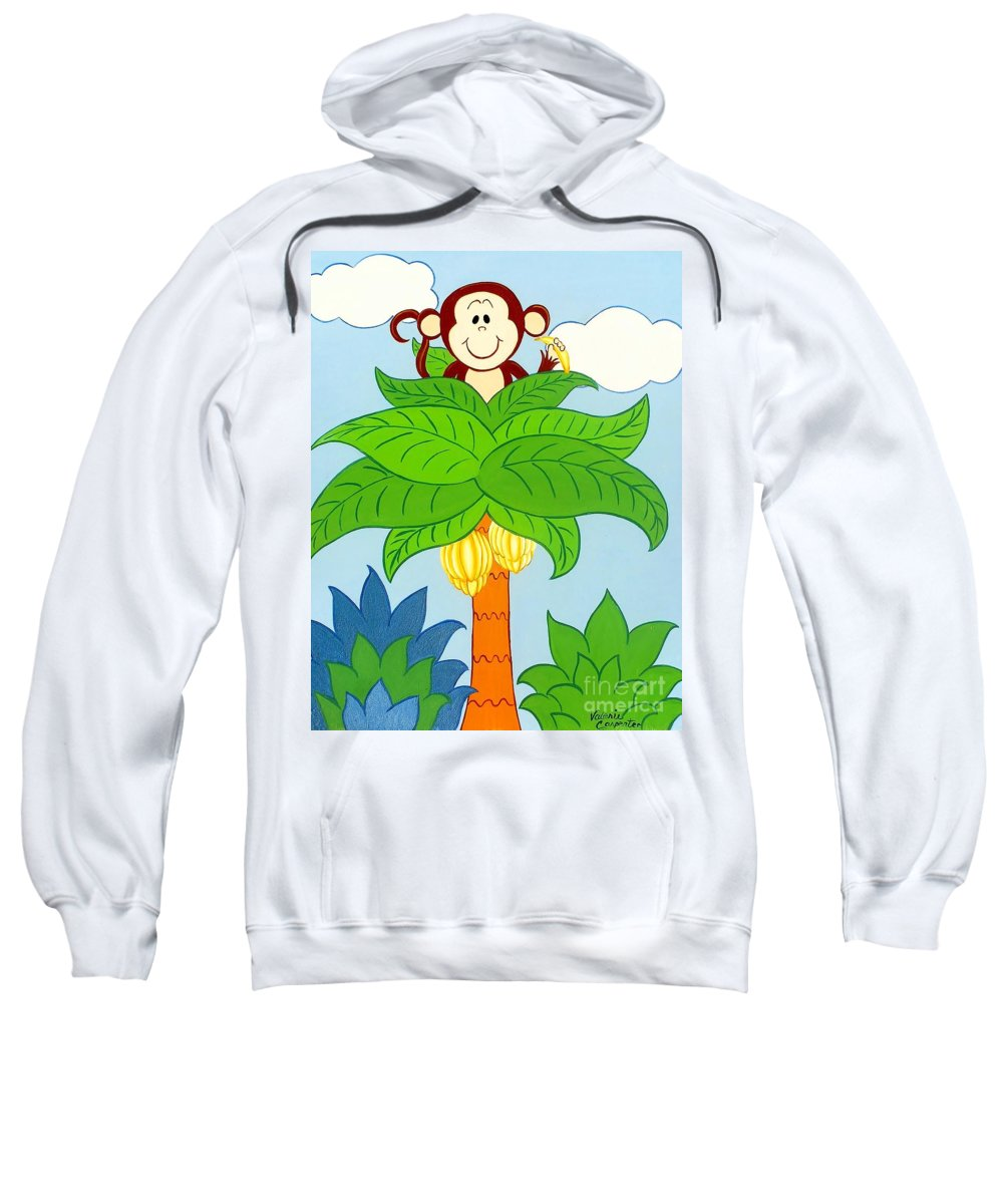 Monkey Sweatshirt featuring the painting Tree Top Monkey by Valerie Carpenter