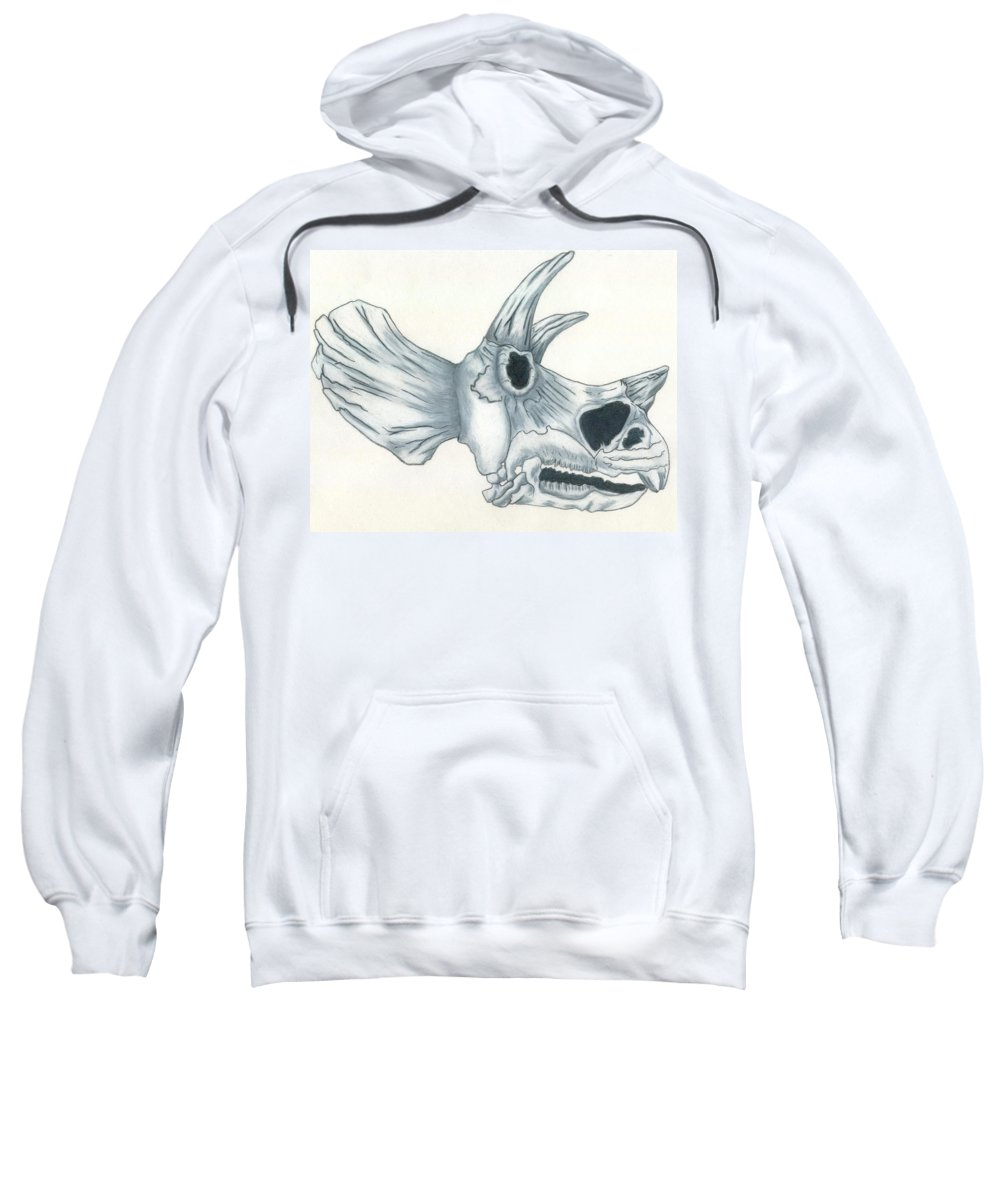Dinosaur Sweatshirt featuring the drawing Tricerotops Skull by Micah Guenther