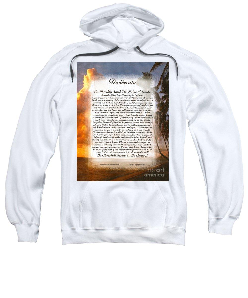 Desiderata Sweatshirt featuring the mixed media Tropical Sunset Desiderata by Desiderata Gallery