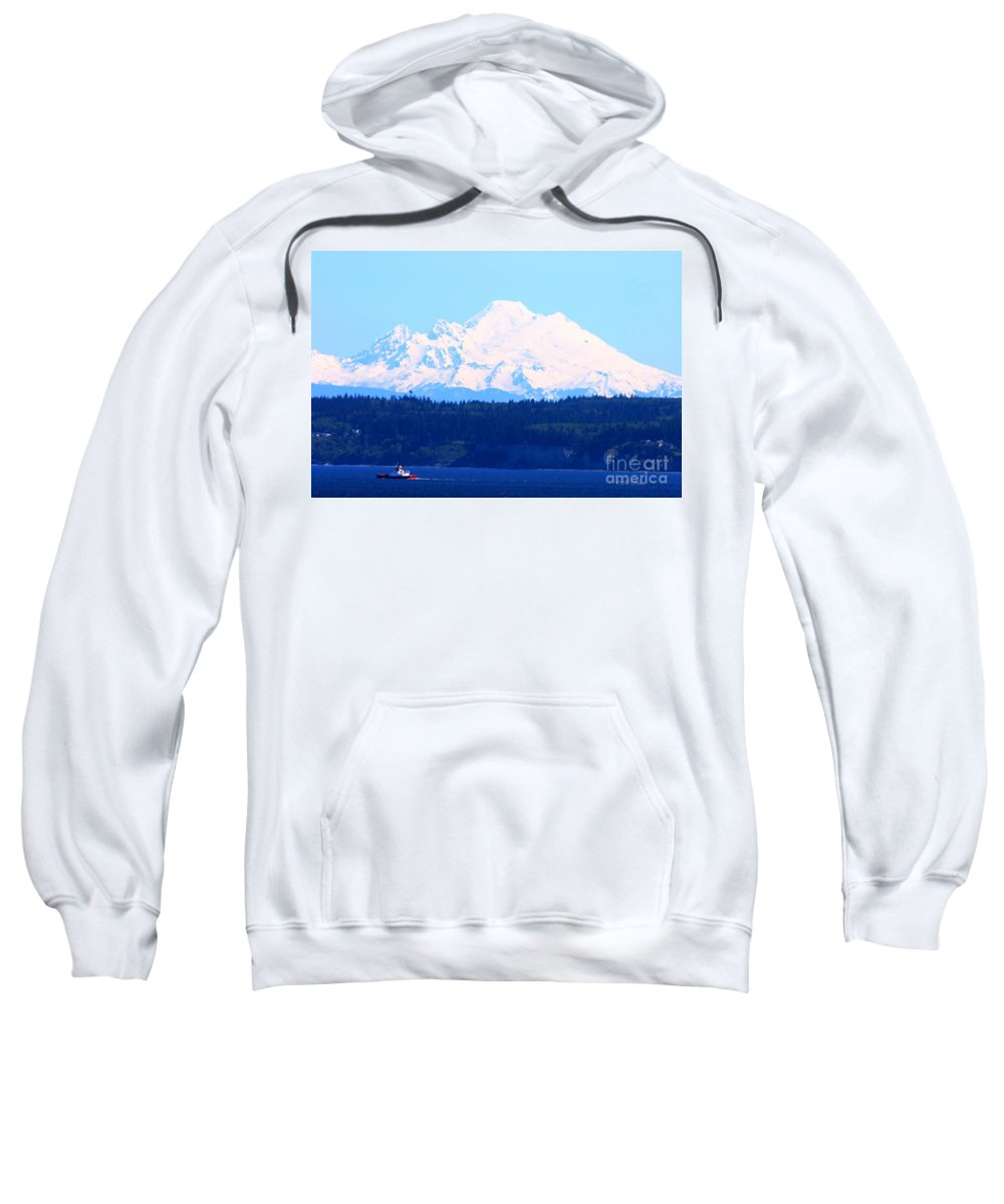 Tug Sweatshirt featuring the photograph Tug With Mt Baker by Tap On Photo