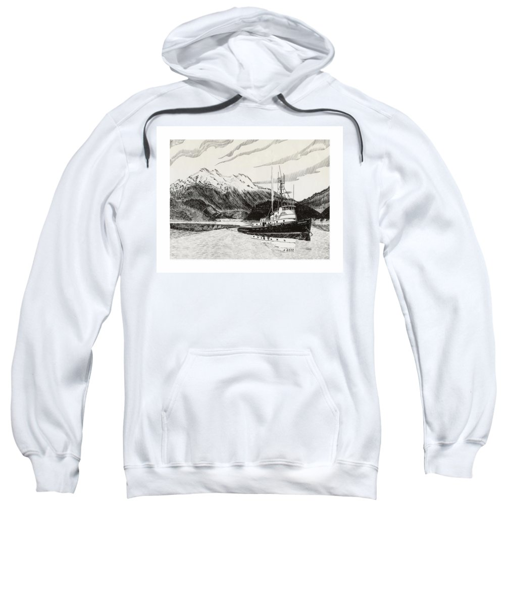 Tugboat Skagit Chief Prints Sweatshirt featuring the drawing Skagit Chief Tugboat by Jack Pumphrey