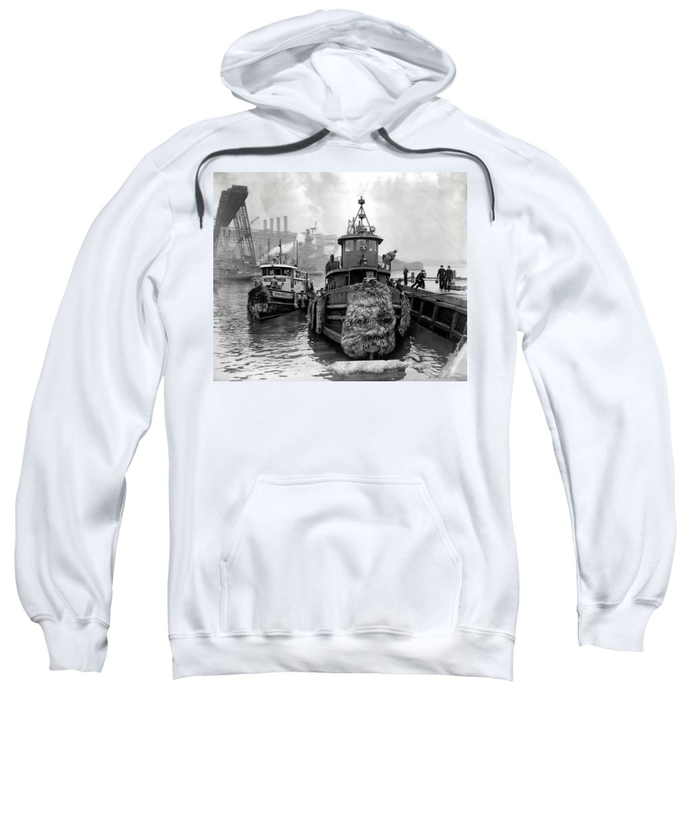 Tugboat Sweatshirt featuring the photograph Tugboat Winter 1946 by Daniel Hagerman