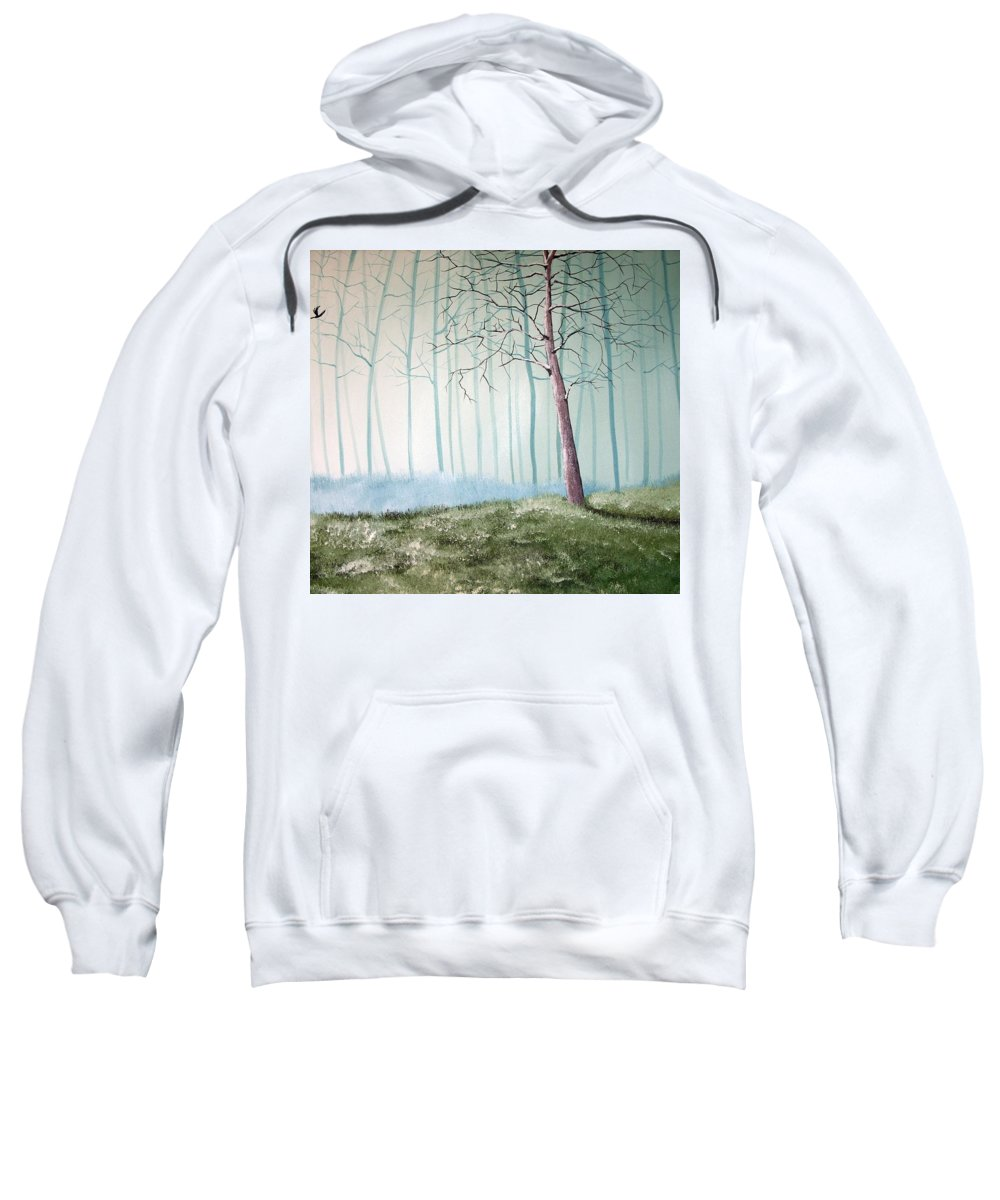 Trees Sweatshirt featuring the painting Turqouise Mist by Trudy Kepke