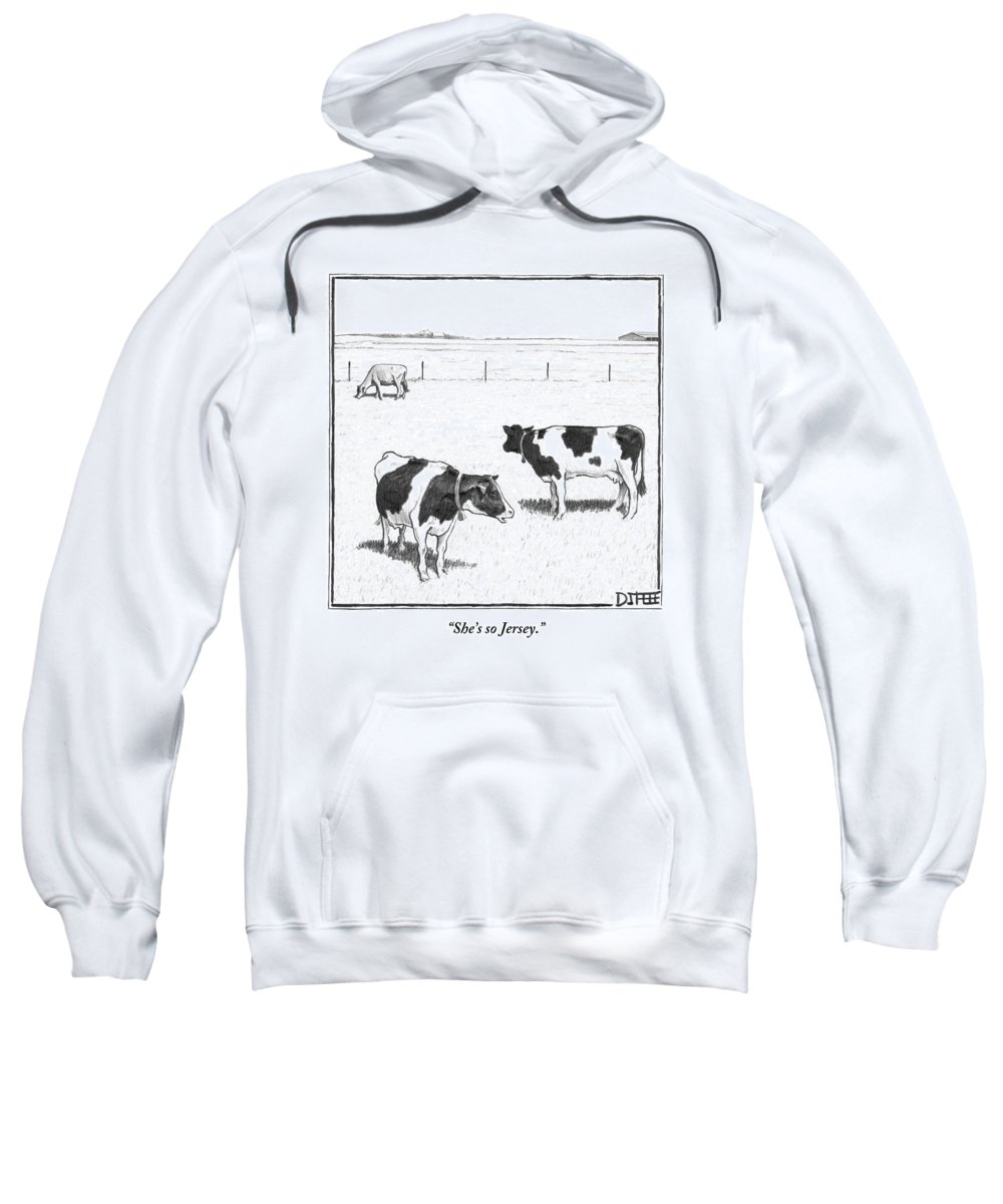 Cows Sweatshirt featuring the drawing Two Spotted Cows Looking At A Jersey Cow by Matthew Diffee