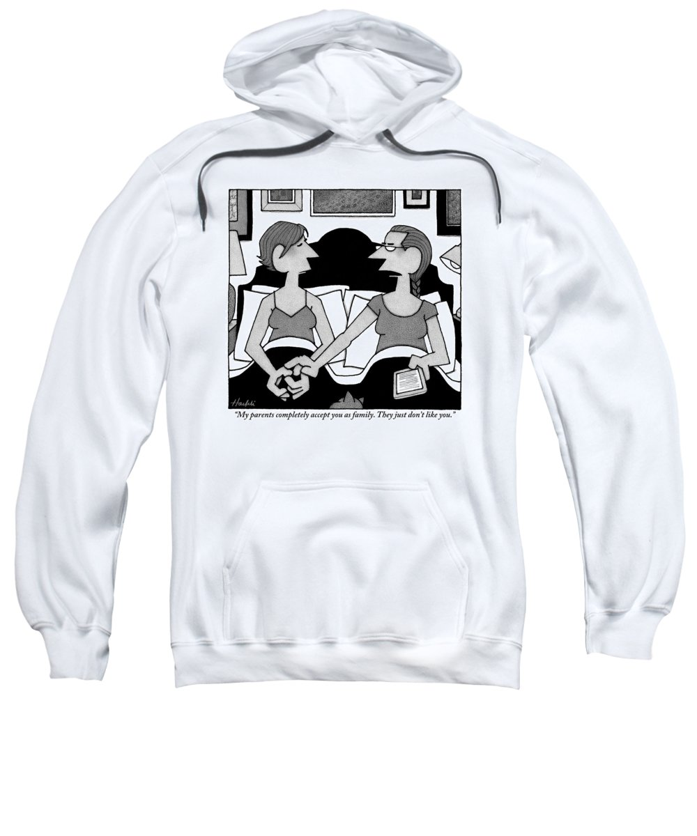 Gays (homosexuals) Sweatshirt featuring the drawing Two Gay Women Talk In Bed by William Haefeli
