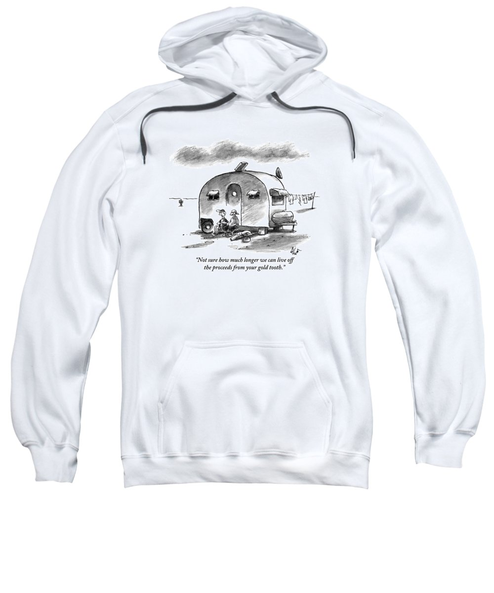 Dog Sweatshirt featuring the drawing Two Men And A Dog Are Seen Sitting by Frank Cotham