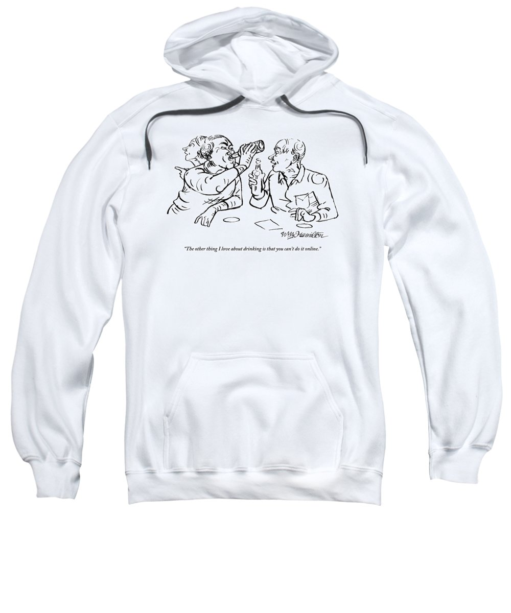 Internet Sweatshirt featuring the drawing Two Men Talk In A Bar Holding Beer Bottles by William Hamilton