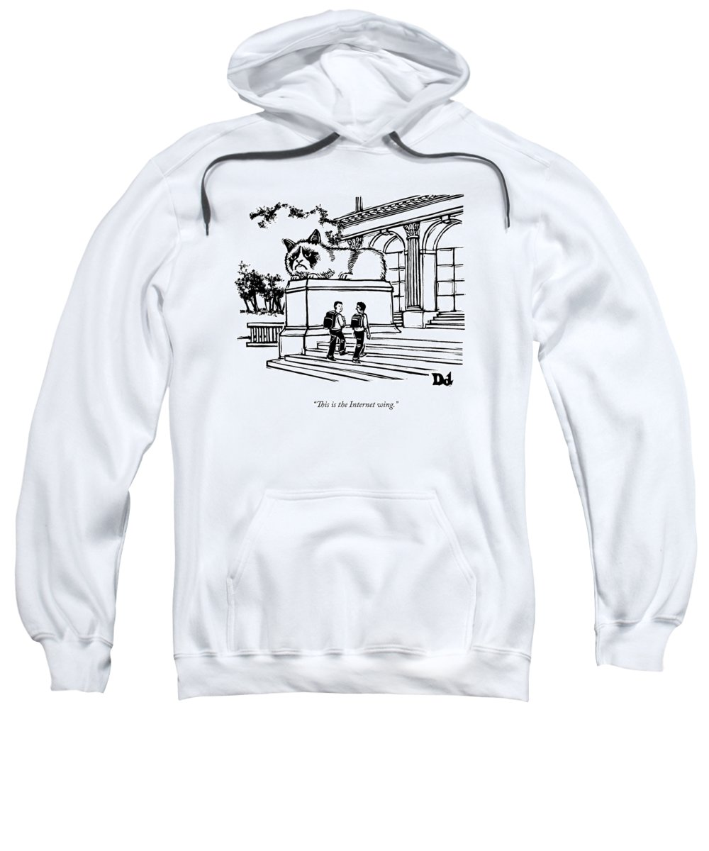 Cat Video Sweatshirt featuring the drawing Two Men Walk Into A Library. There Is An by Drew Dernavich