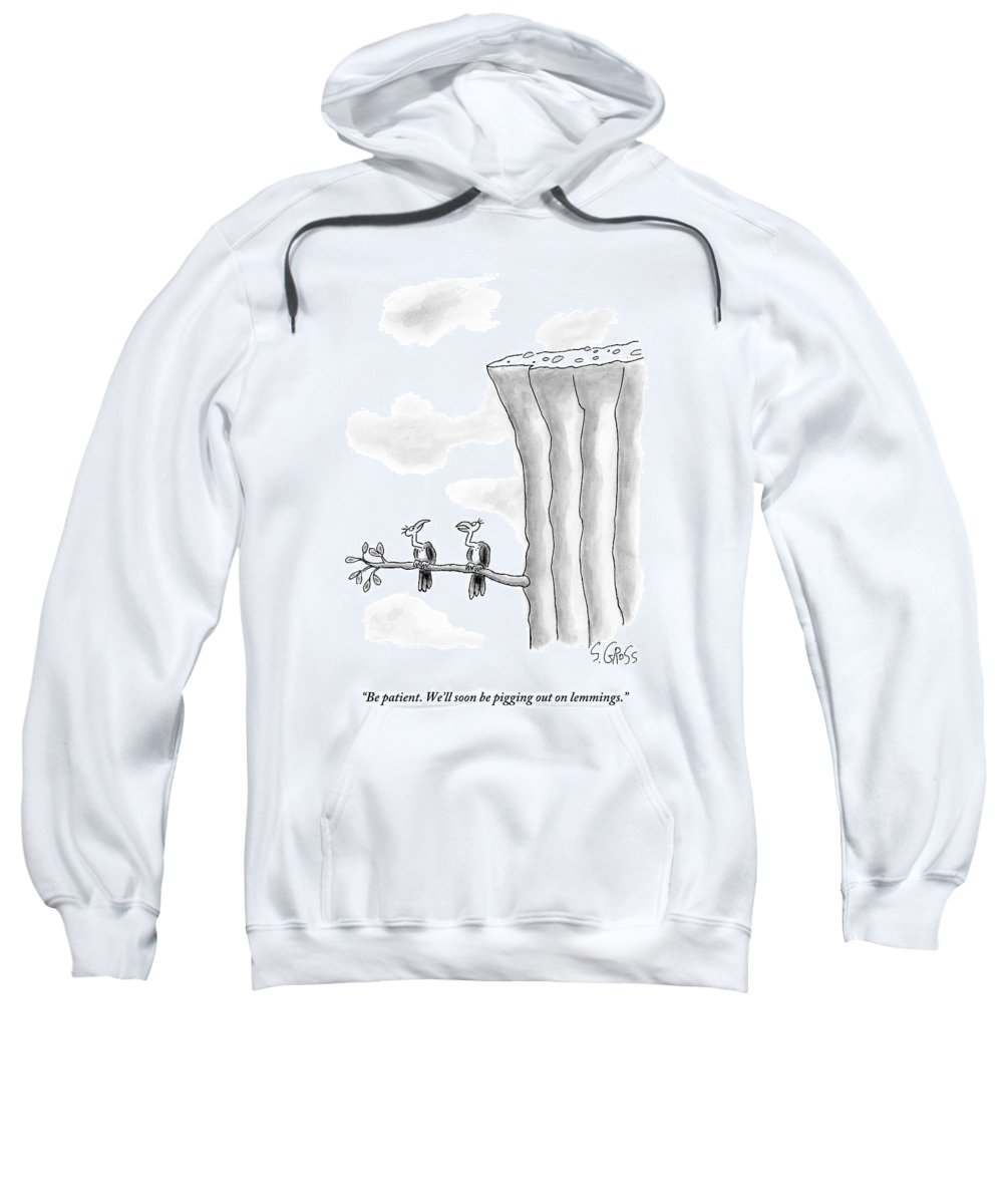 Lemmings Sweatshirt featuring the drawing Two Vultures Are Perched On A Branch by Sam Gross