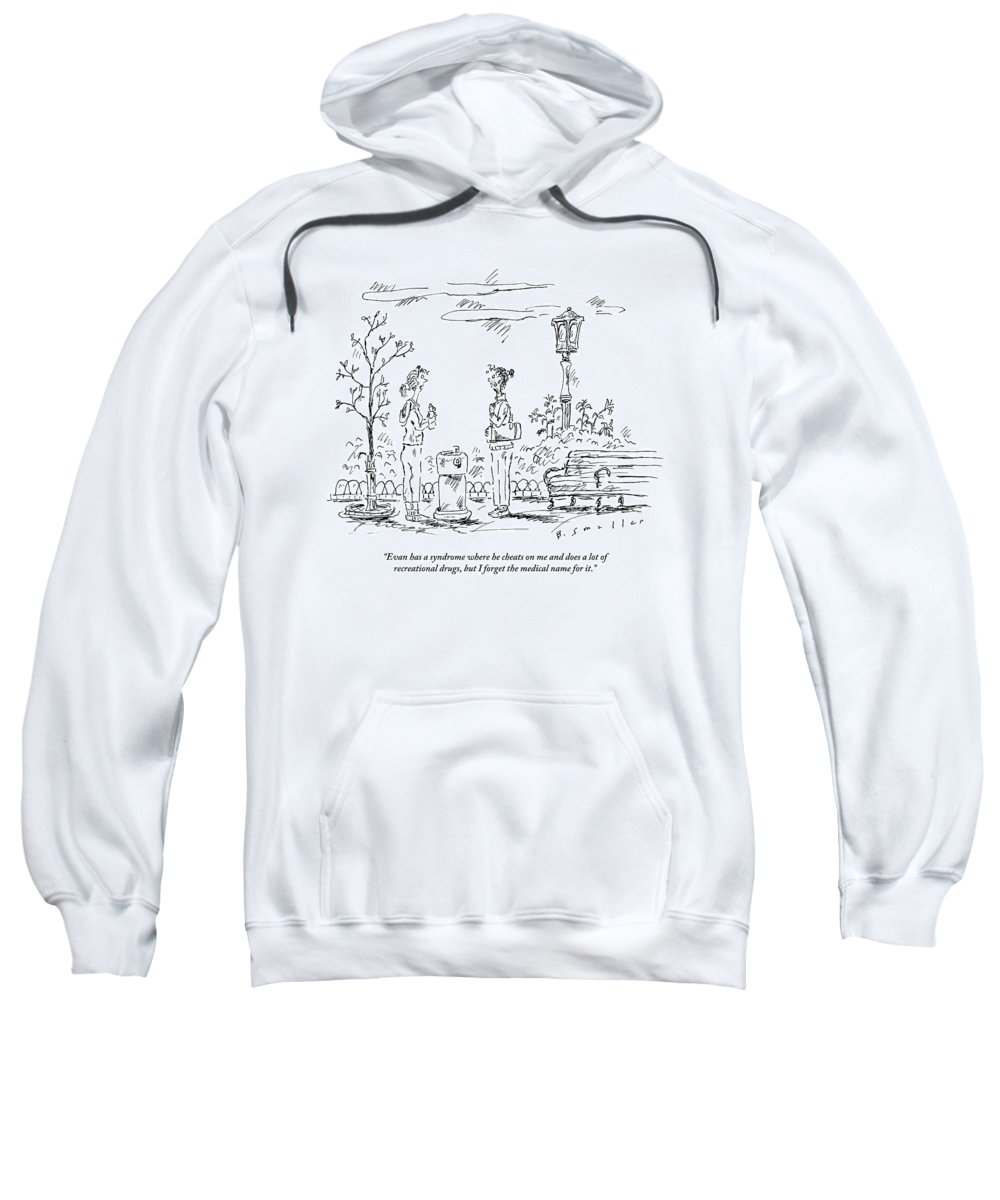 Syndrome Sweatshirt featuring the drawing Two Women In Exercise Gear Talk By A Water by Barbara Smaller