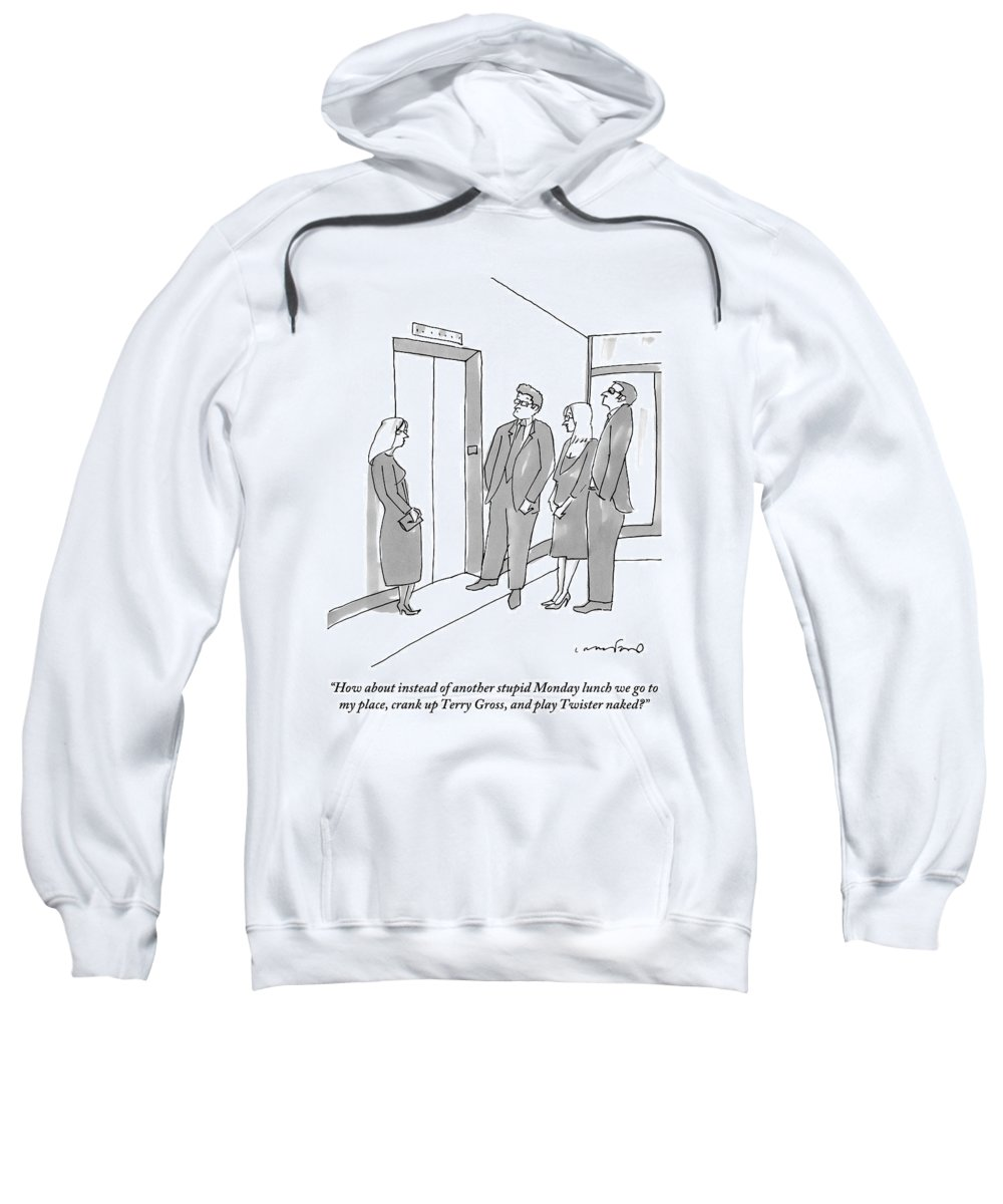 Lunch Sweatshirt featuring the drawing Two Working Men And Two Working Women Wait For An by Michael Crawford