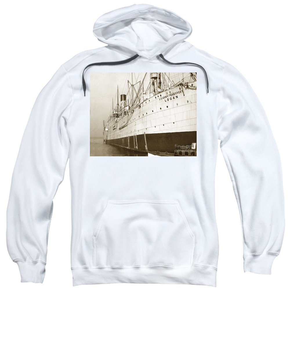 U.s. Army Sweatshirt featuring the photograph U. S. Army Transport Logan San Francisco California 1898 by California Views Archives Mr Pat Hathaway Archives