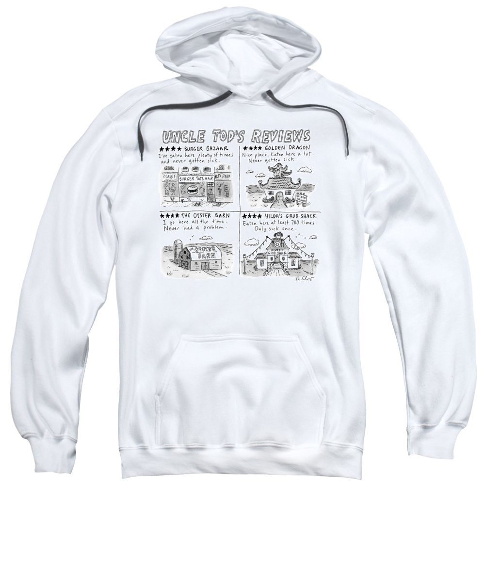 Captionless Sweatshirt featuring the drawing Uncle Tod's Reviews by Roz Chast