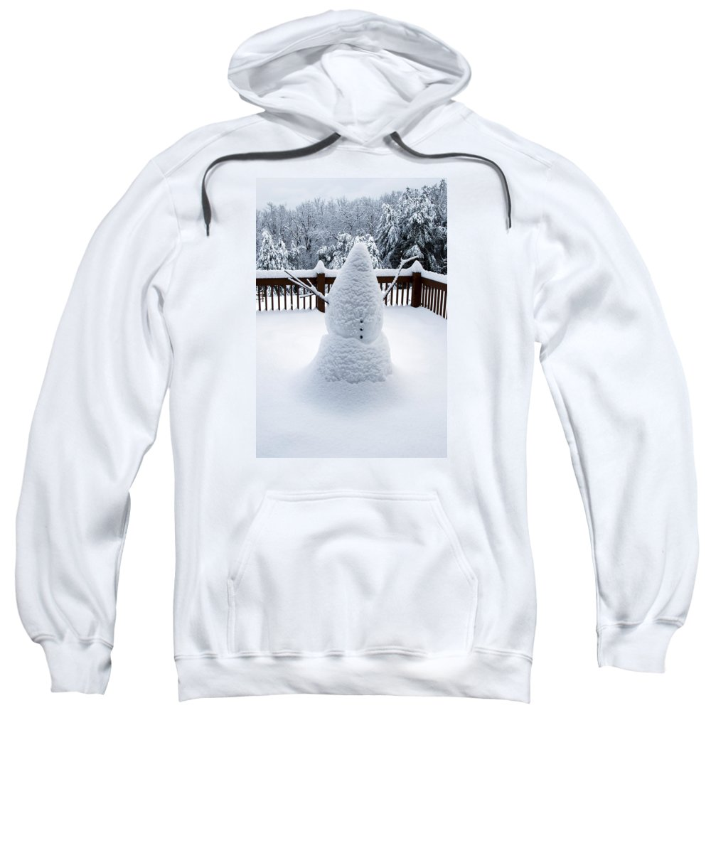 Snowman Sweatshirt featuring the photograph Undercover Snowman by Mark Smith