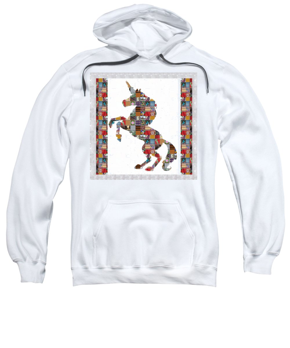 Unicorn Sweatshirt featuring the painting Unicorn Horse Showcasing Navinjoshi Gallery Art Icons Buy Faa Products Or Download For Self Printing by Navin Joshi