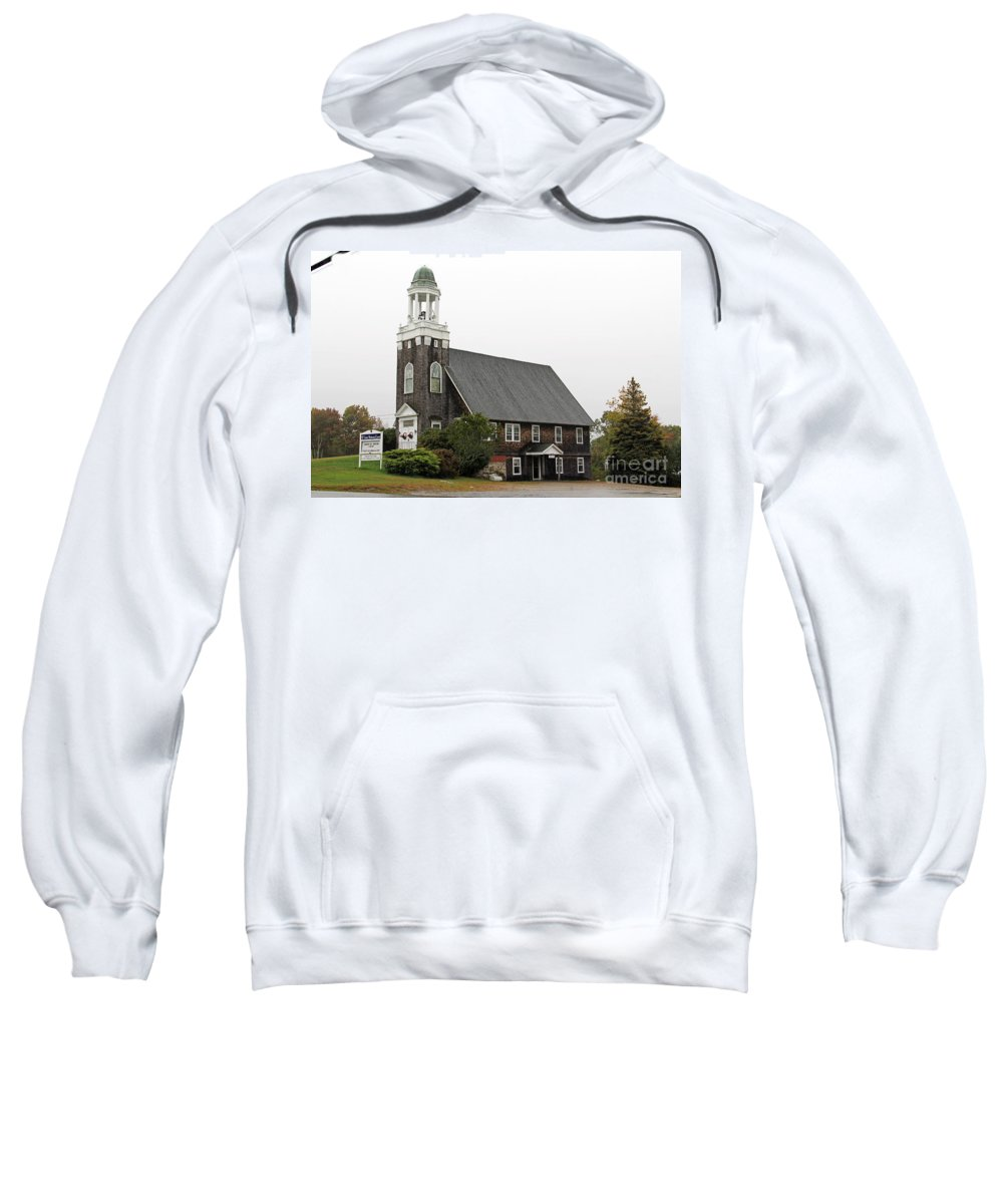 United Methodist Church Sweatshirt featuring the photograph United Methodist Church New Harbor Maine by Jack Schultz