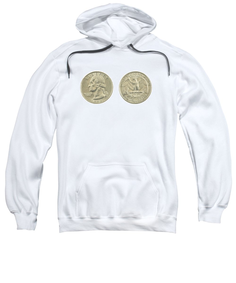Quarter Sweatshirt featuring the photograph United States Quarter On White Background by Keith Webber Jr