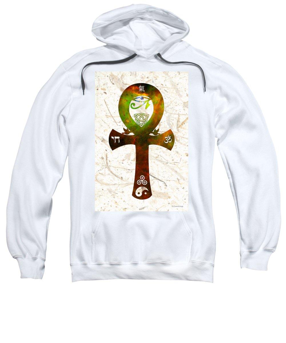 Sharon Cummings Sweatshirt featuring the painting Unity 11 - Spiritual Artwork by Sharon Cummings