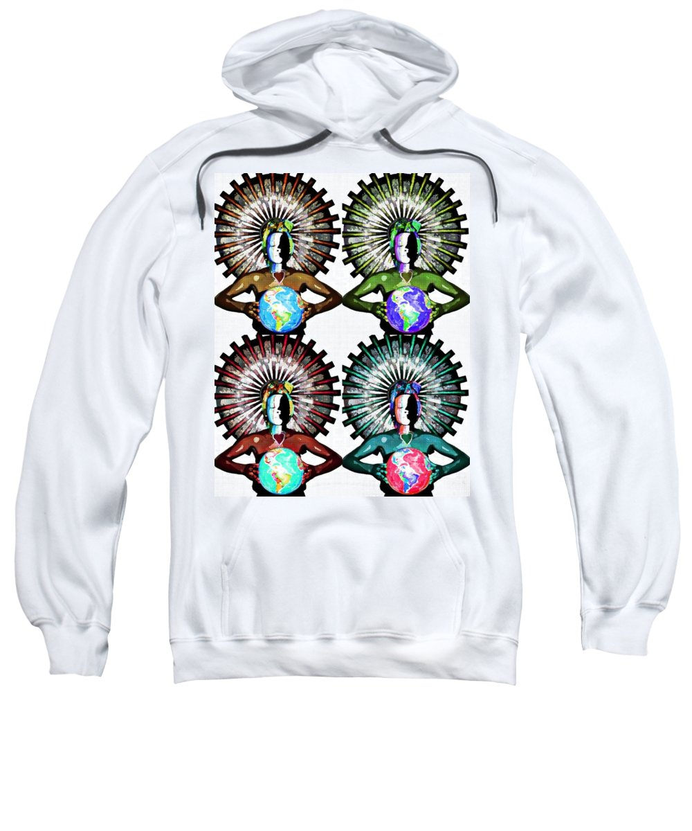 Original Art Sweatshirt featuring the mixed media Unity-love-peace In This World by Artista Elisabet