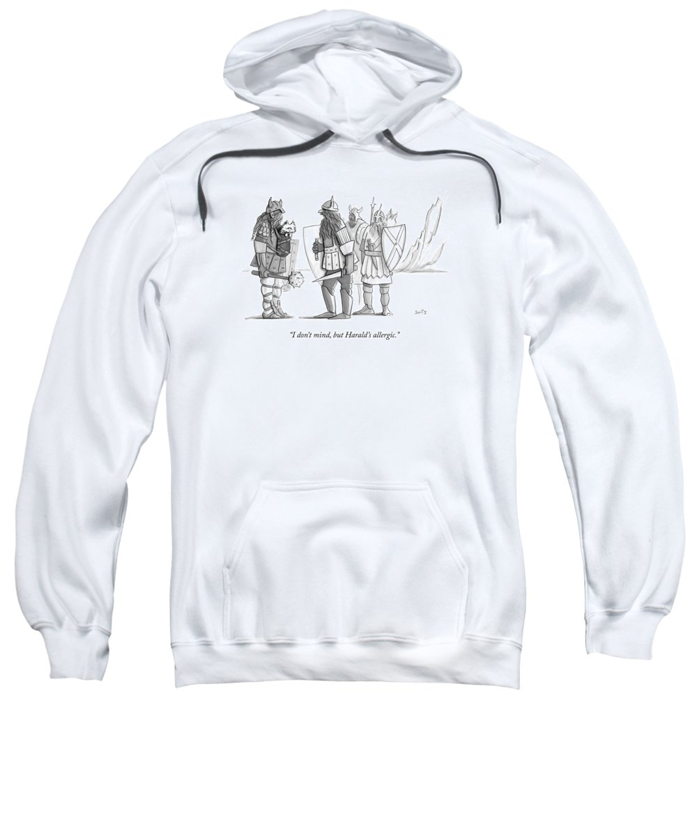 Cat Sweatshirt featuring the drawing I Don't Mind by Julia Suits