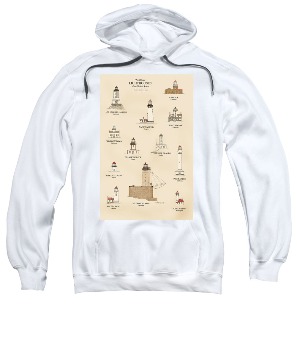 Lighthouse Sweatshirt featuring the drawing Lighthouses Of The West Coast by Jerry McElroy