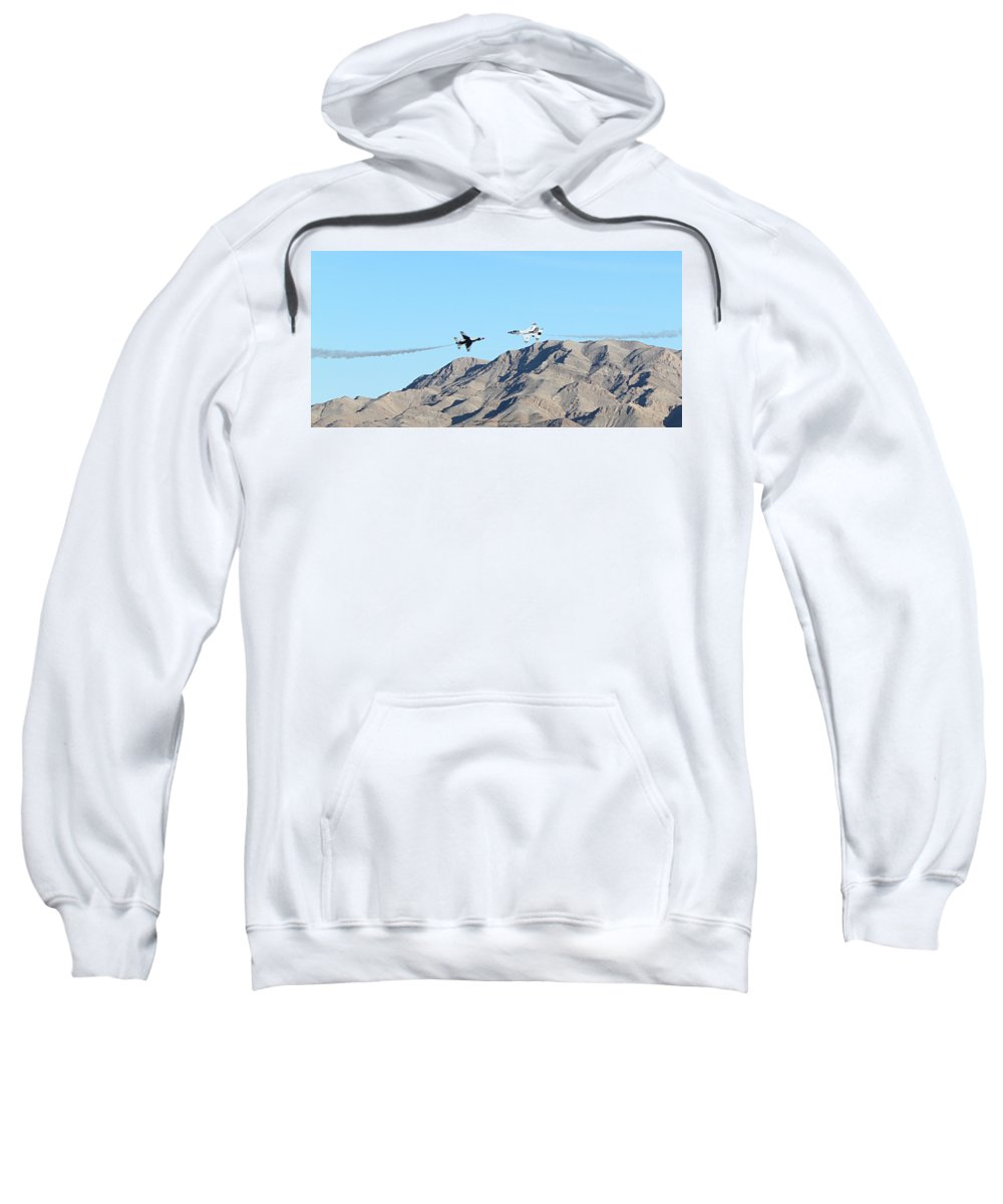 F16s Sweatshirt featuring the photograph Usaf Thunderbirds Precision Flying One by Carl Deaville