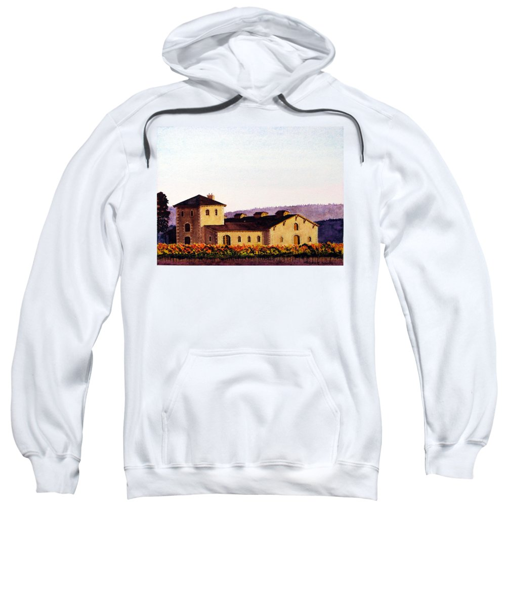 V. Sattui Sweatshirt featuring the painting V. Sattui Winery by Mike Robles