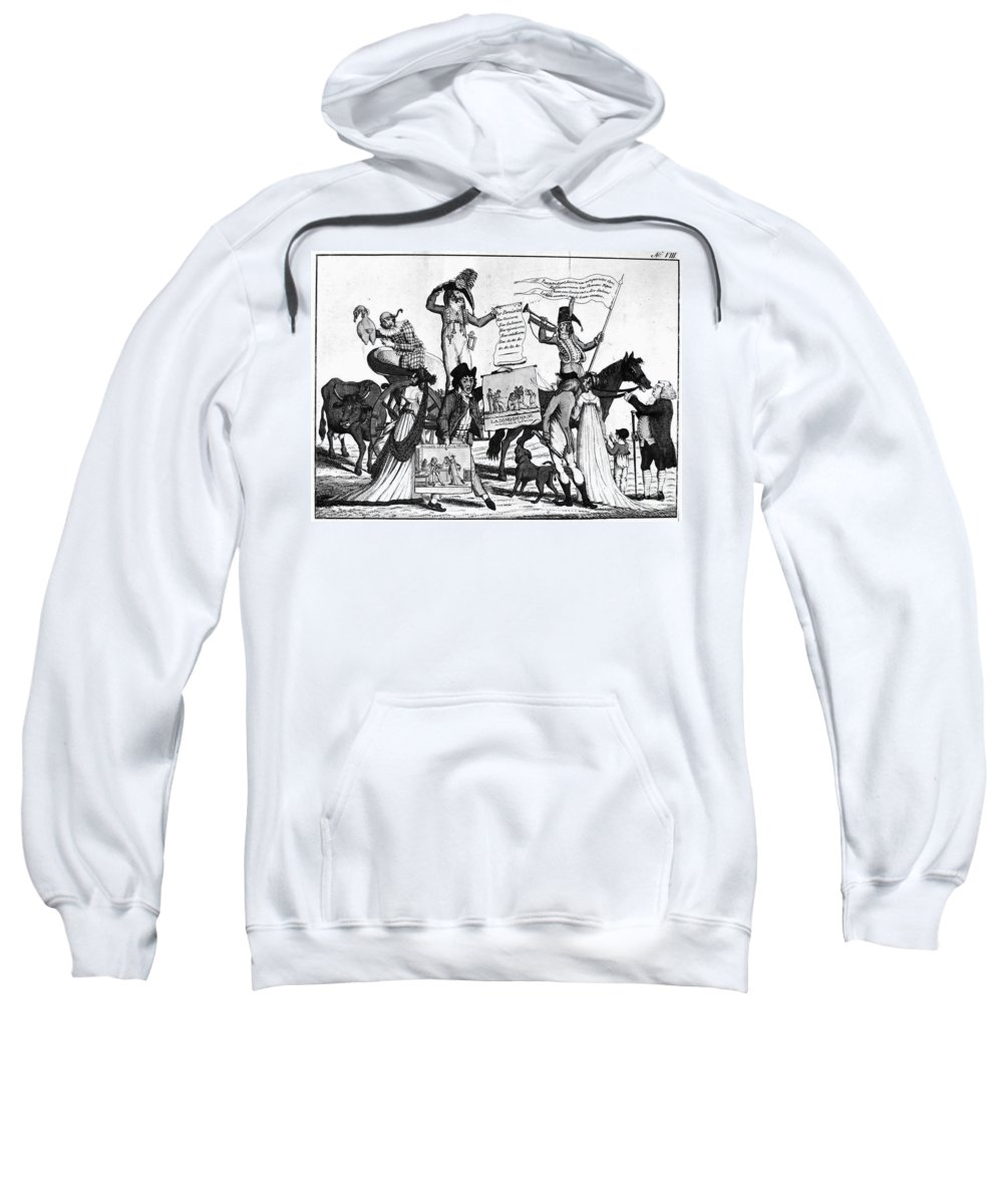 1800 Sweatshirt featuring the photograph Vaccination Cartoon, C1800 by Granger