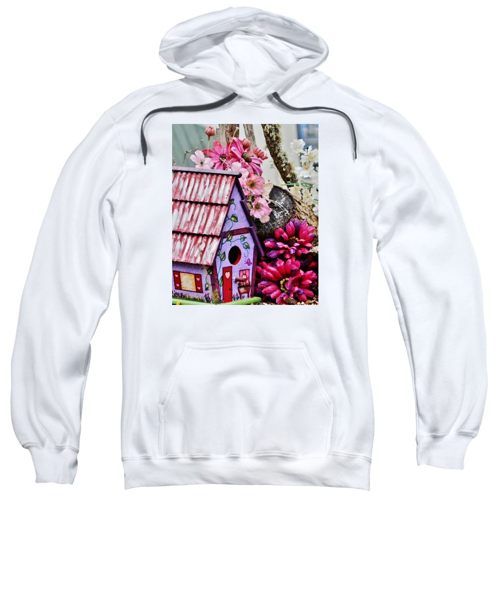 Birdhouse Sweatshirt featuring the painting Valentine House by VLee Watson