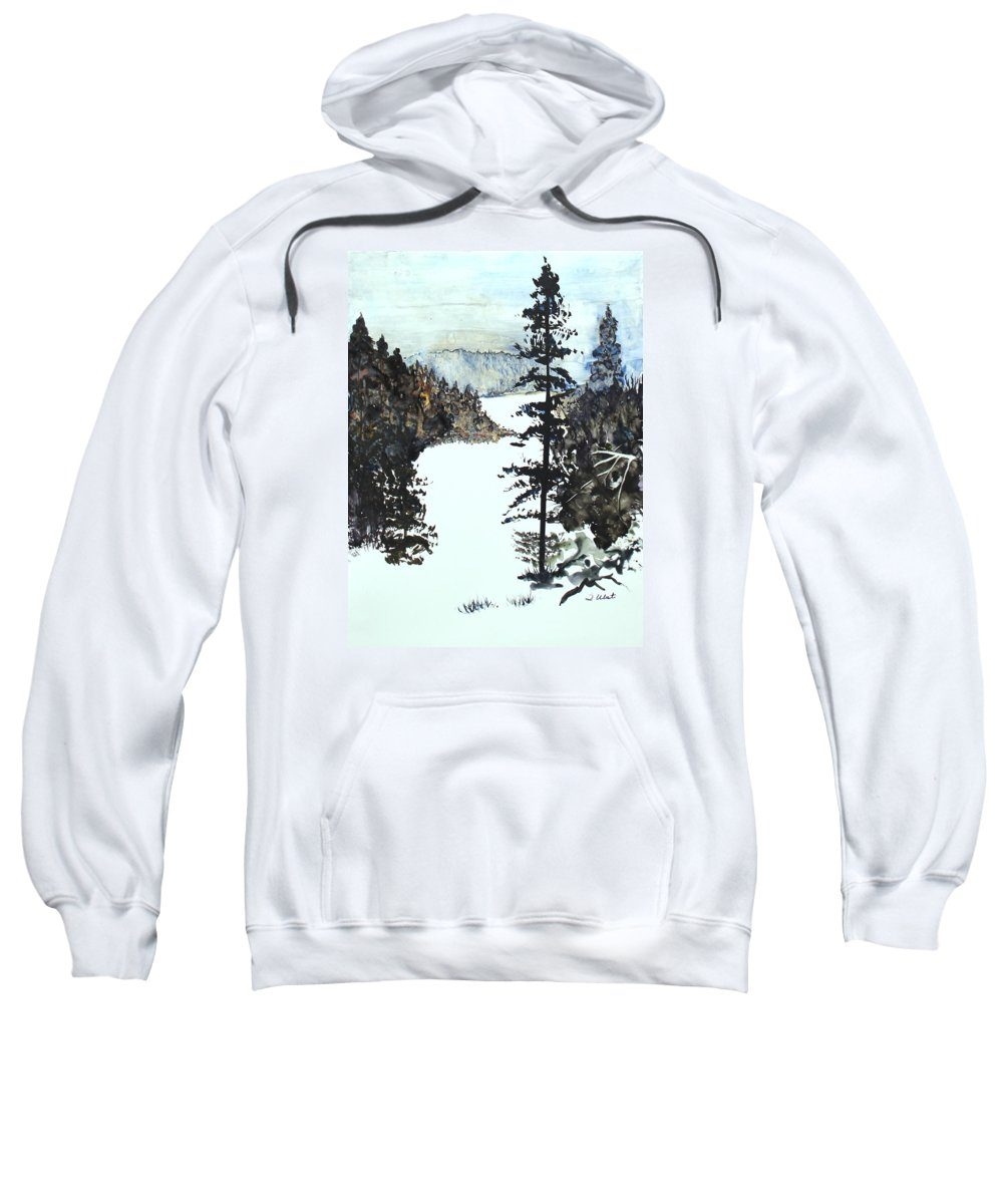 Snow Sweatshirt featuring the painting Valley Snow by Shelli West