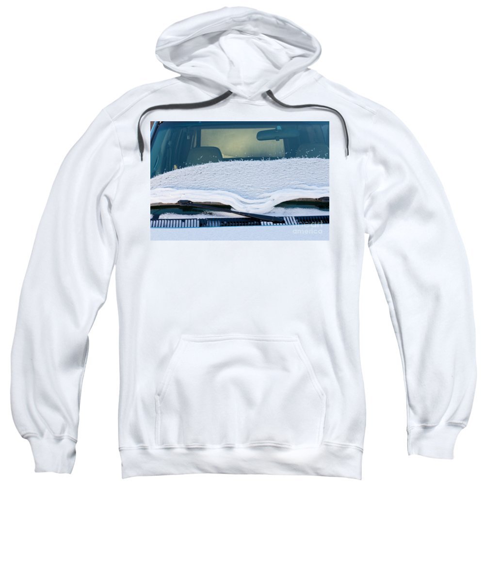 Automobile Sweatshirt featuring the photograph Vehicle Windshield Fresh Snow Thawing by Stephan Pietzko
