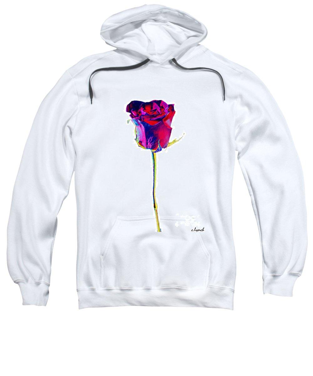 Velvet Sweatshirt featuring the digital art Velvet Rose Bud by Carol Lynch