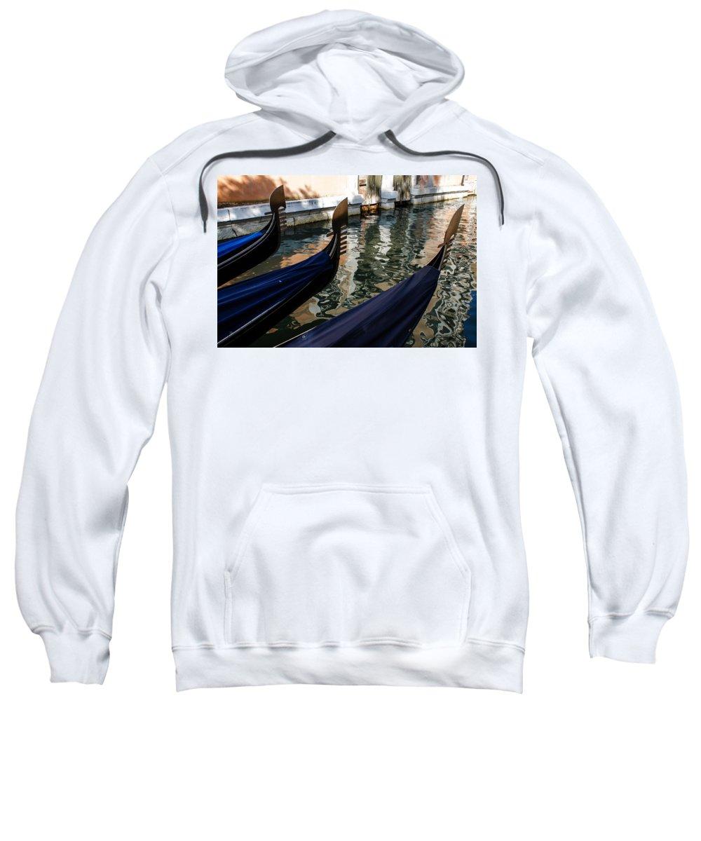 Gondola Sweatshirt featuring the photograph Venetian Gondolas by Georgia Mizuleva