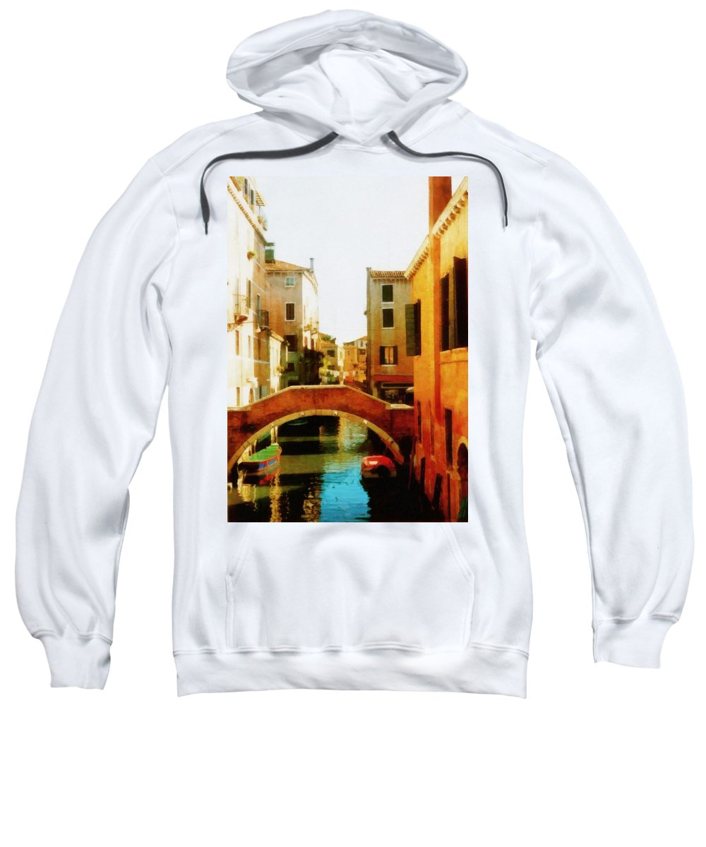 Venice Sweatshirt featuring the photograph Venice Italy Canal With Boats And Laundry by Michelle Calkins