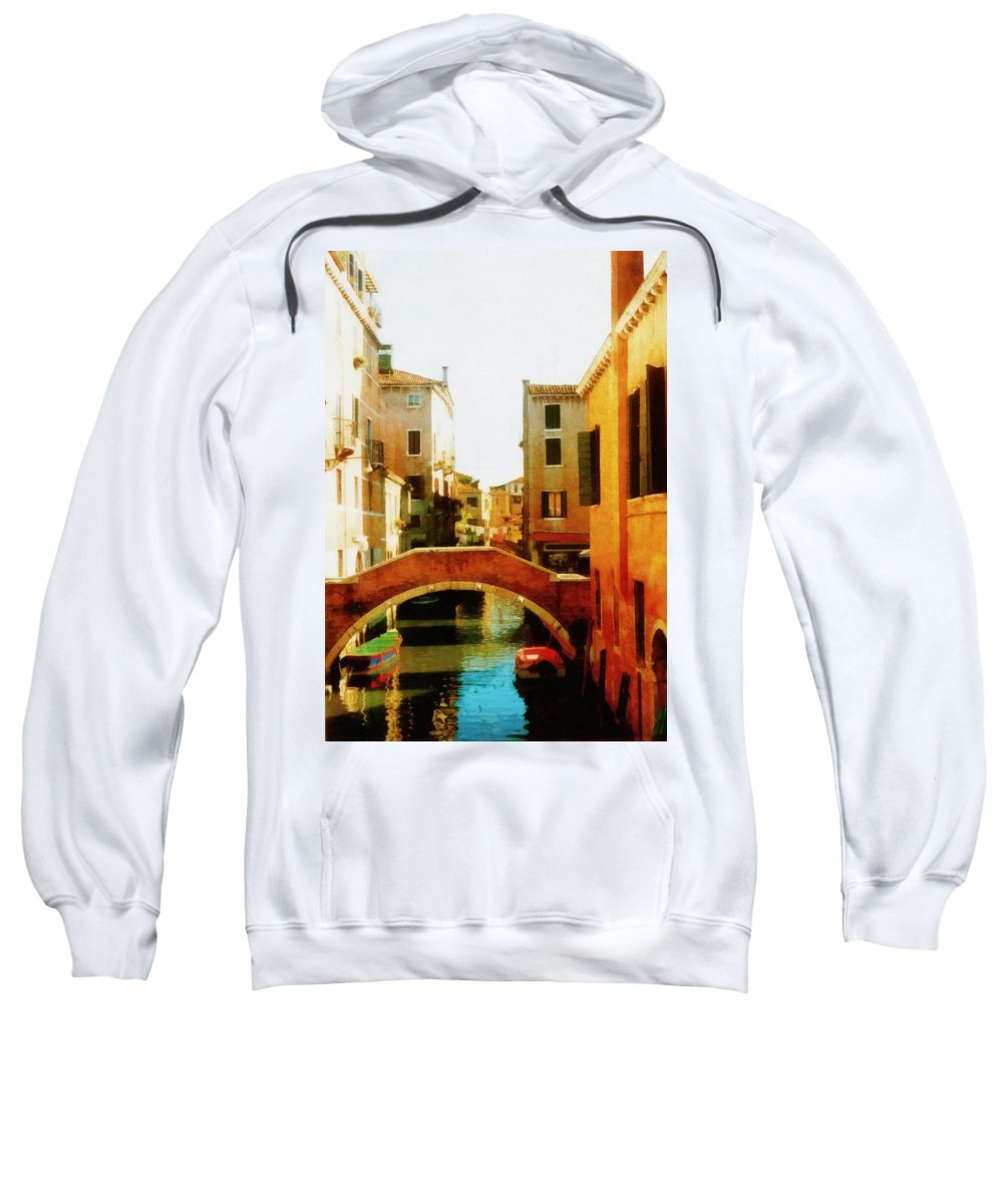 Venezia Sweatshirt featuring the photograph Venice Italy Canal With Boats And Laundry by Michelle Calkins