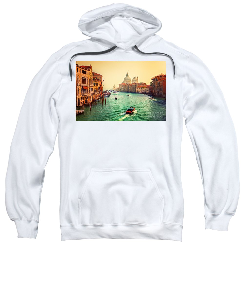 Venice Sweatshirt featuring the photograph Venice Italy Grand Canal And Basilica Santa Maria Della Salute At Sunset by Michal Bednarek