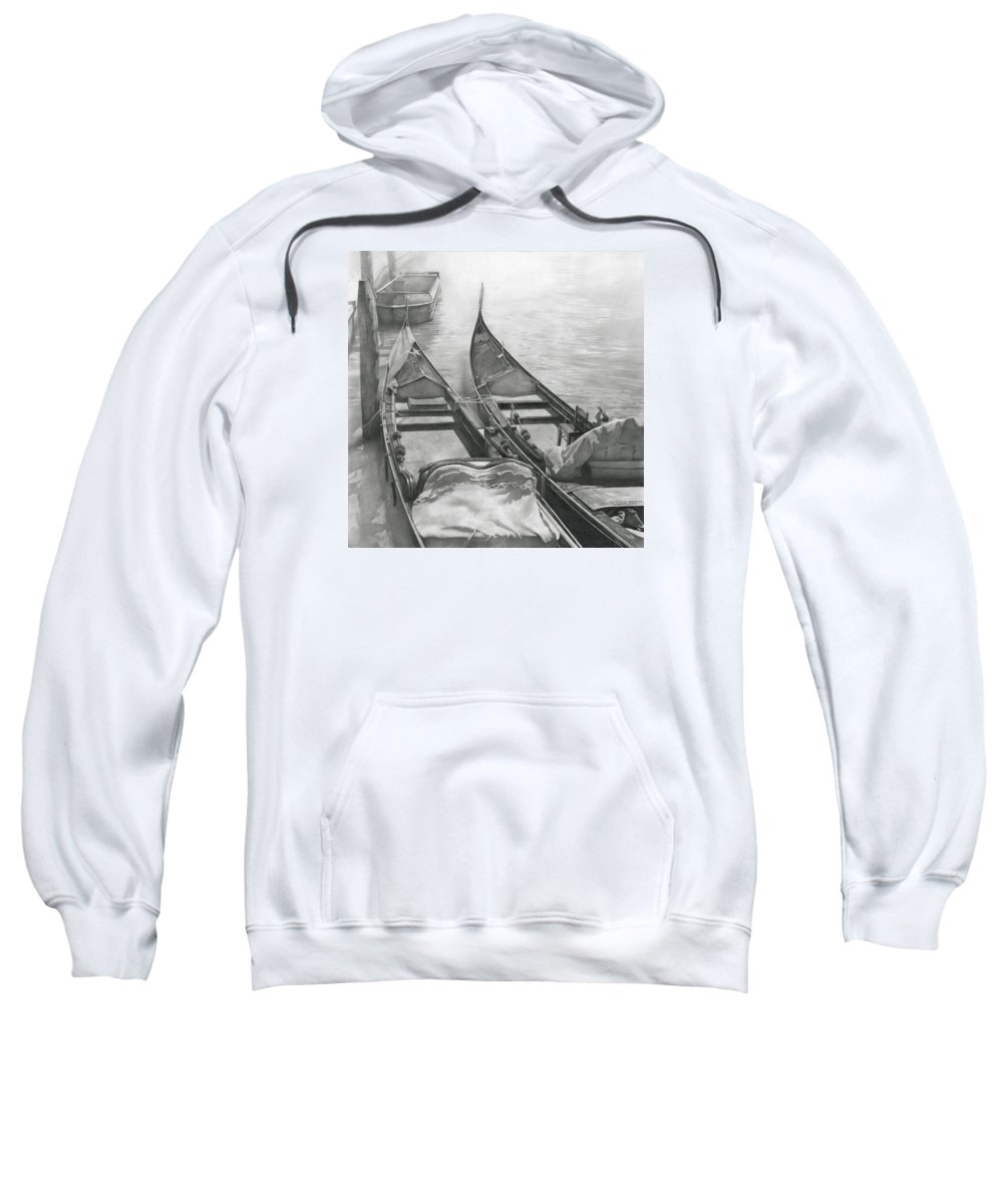 Boat Sweatshirt featuring the drawing Venice Mmxii-ii by Denis Chernov