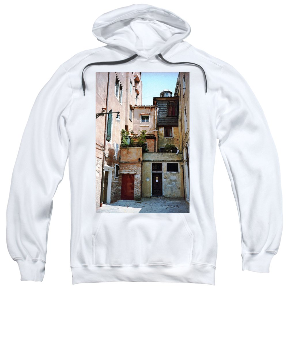Jewish Temple Sweatshirt featuring the digital art Venice Temple by John Vincent Palozzi