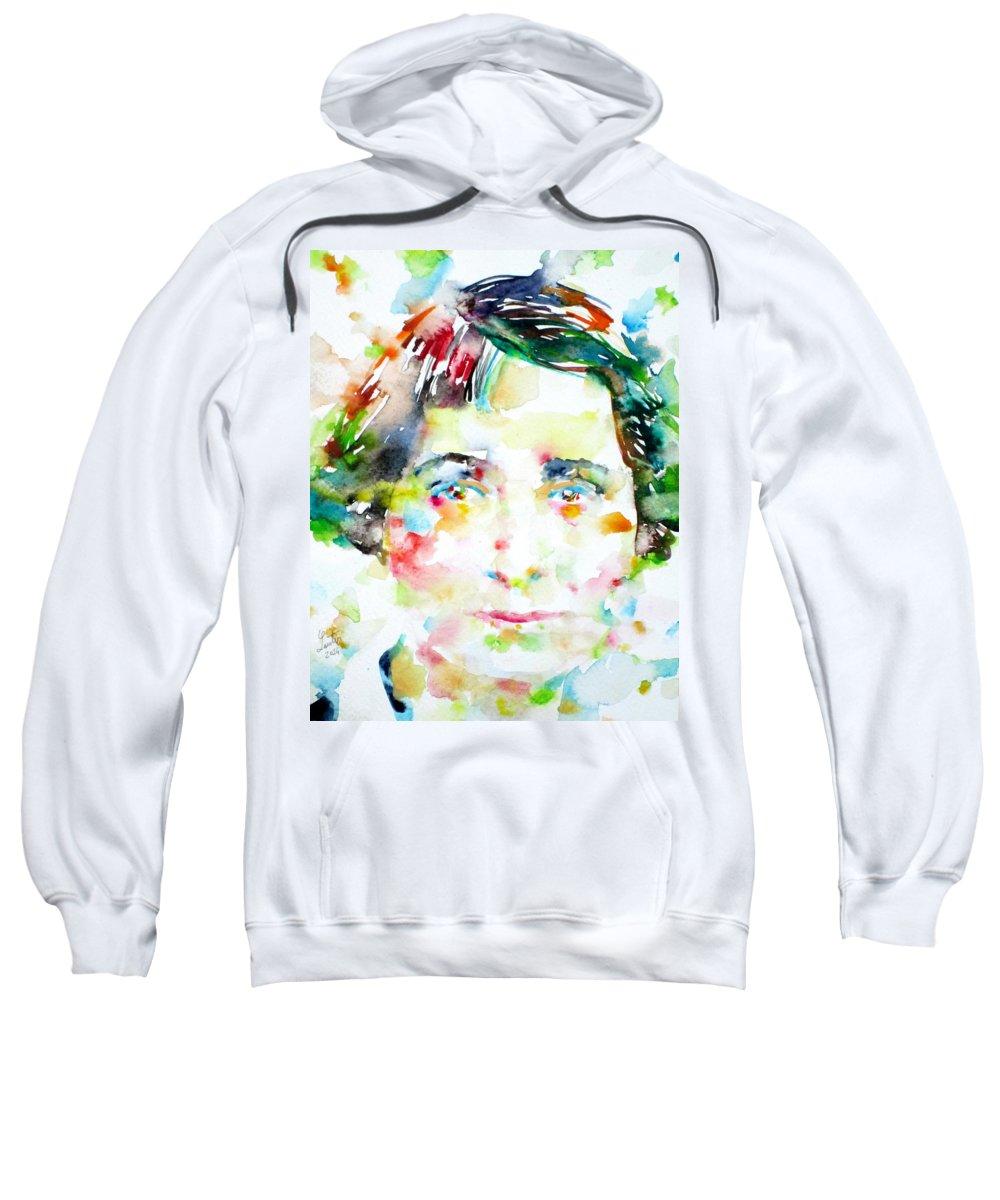 Vera Brittain Sweatshirt featuring the painting Vera Brittain - Watercolor Portrait by Fabrizio Cassetta