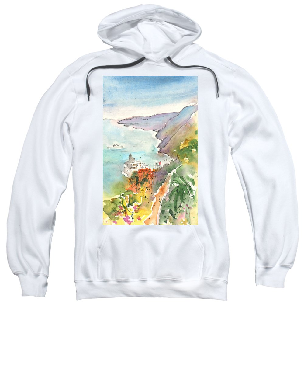 Italy Sweatshirt featuring the painting Vernazza In Italy 06 by Miki De Goodaboom