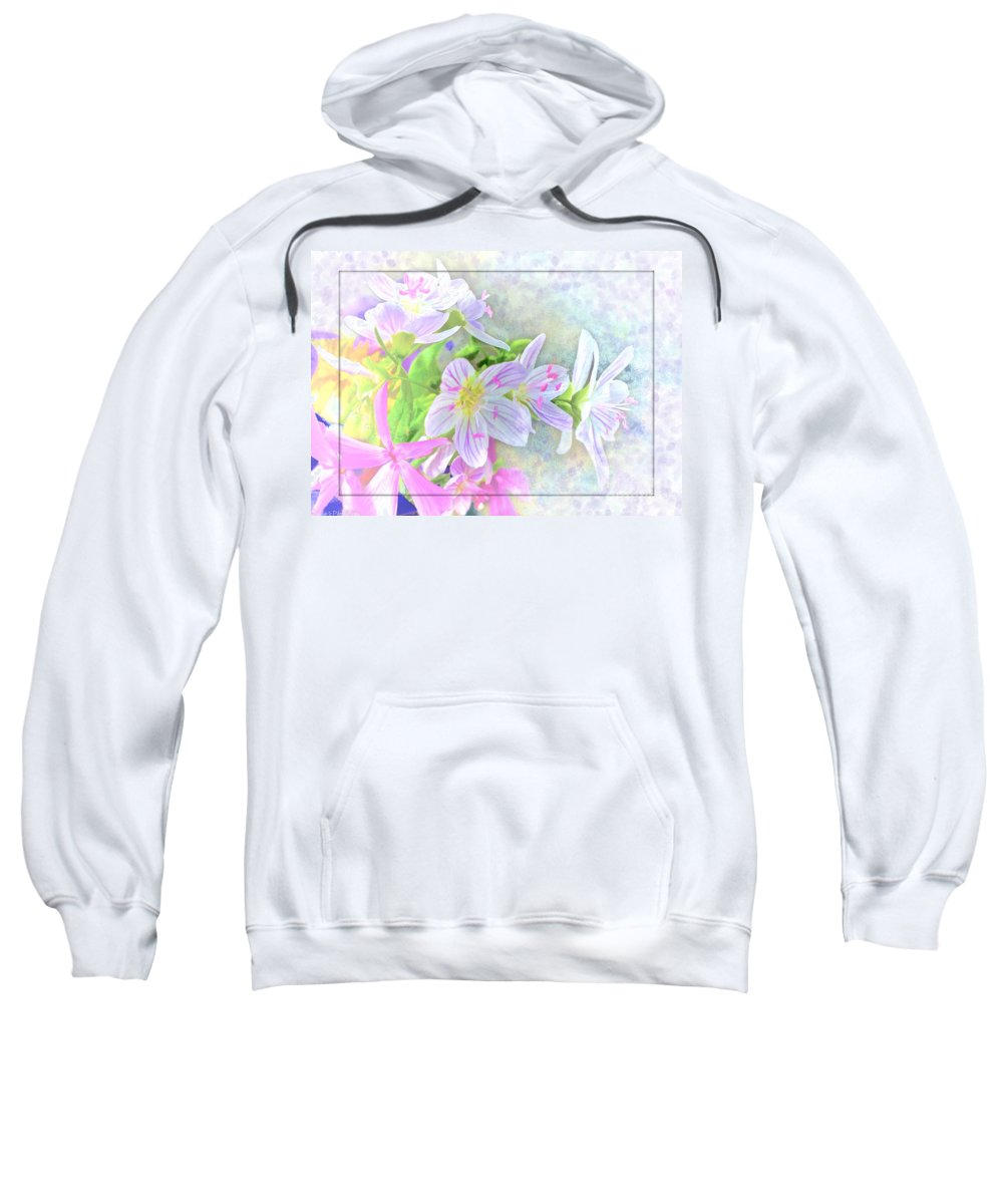 Tiny Sweatshirt featuring the photograph Very Tiny Wildflower Boquet Digital Paint by Debbie Portwood