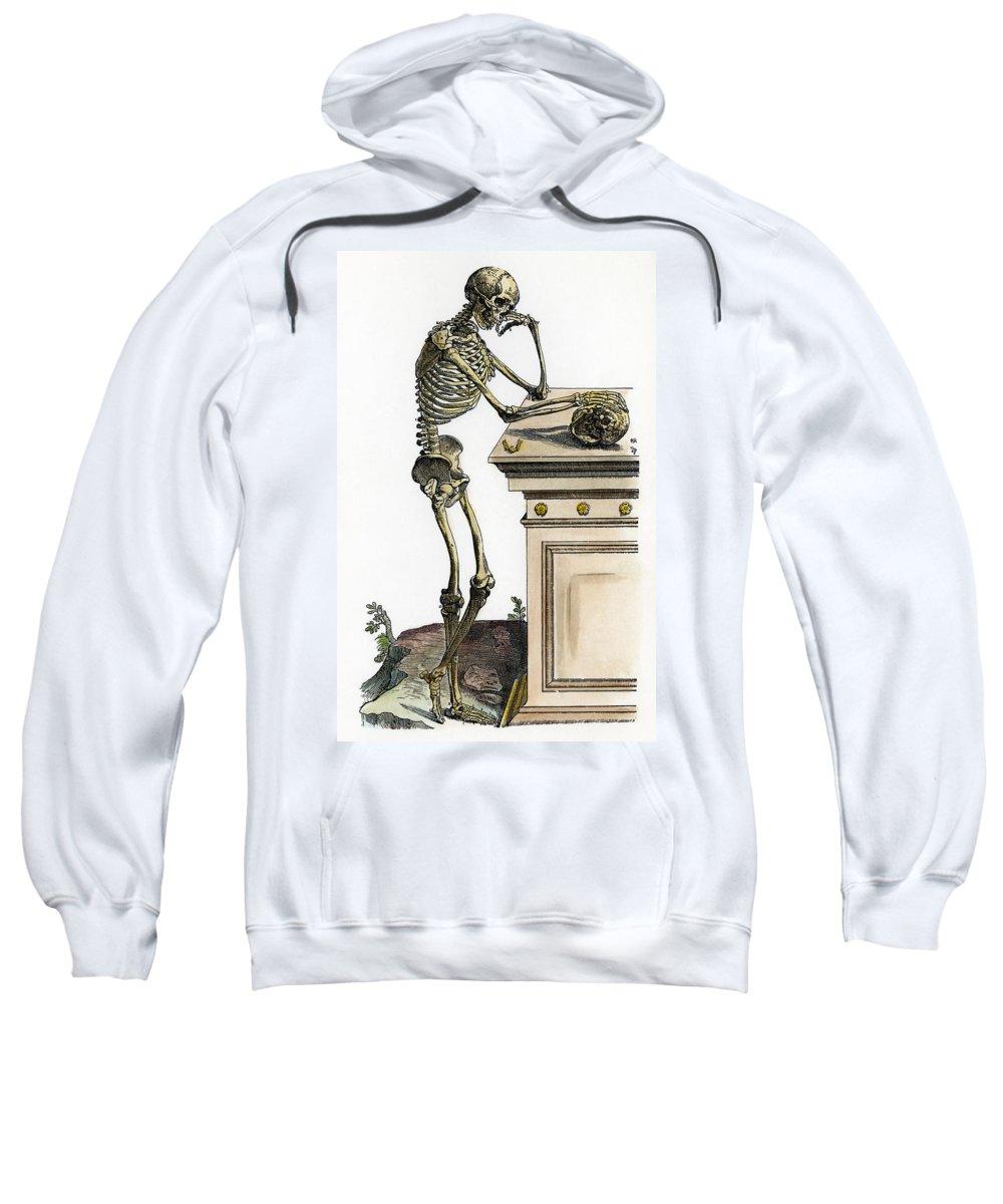 1543 Sweatshirt featuring the photograph Vesalius: Skeleton, 1543 by Granger