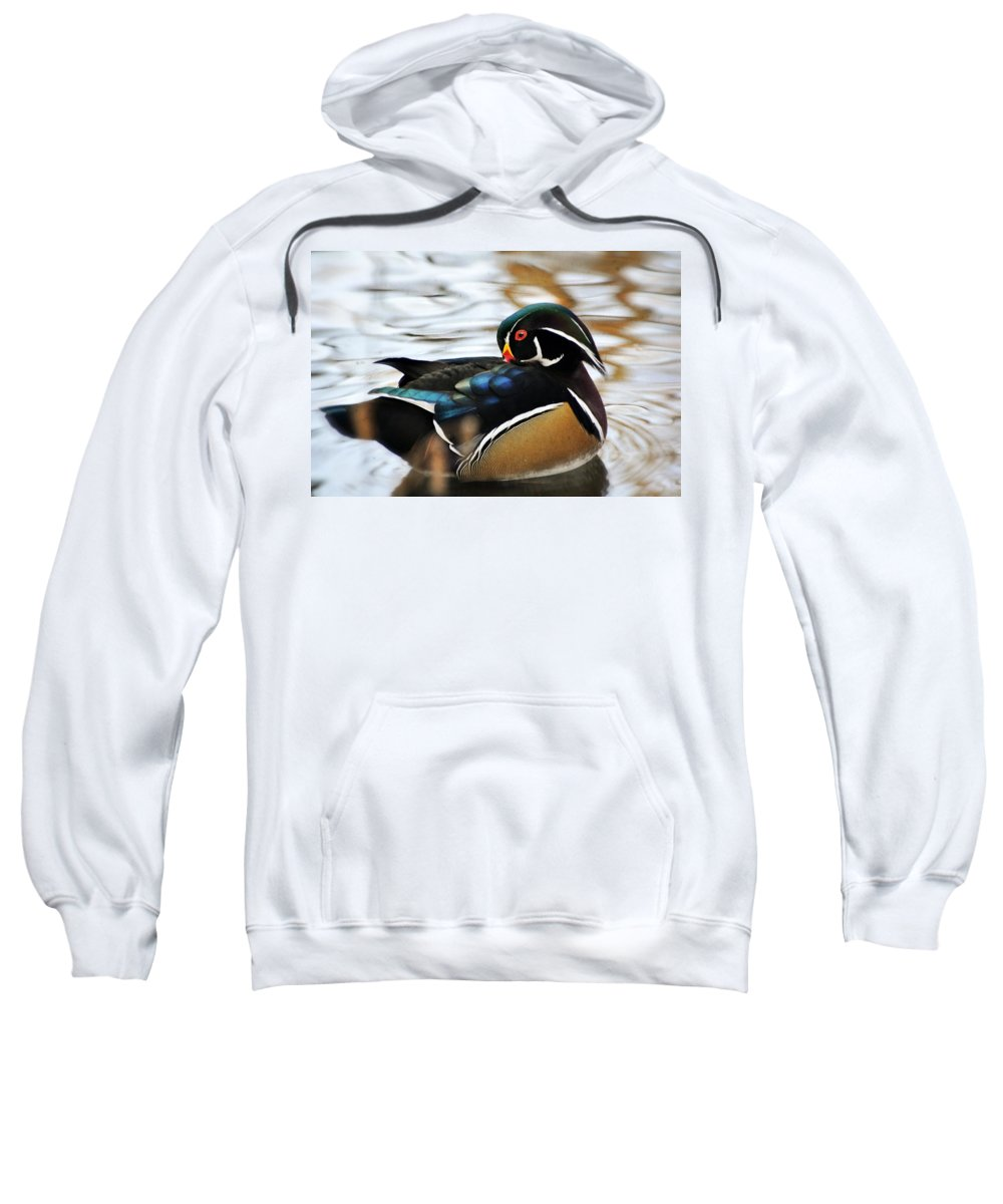 Duck Sweatshirt featuring the photograph Vibrant Duclk by Marty Koch