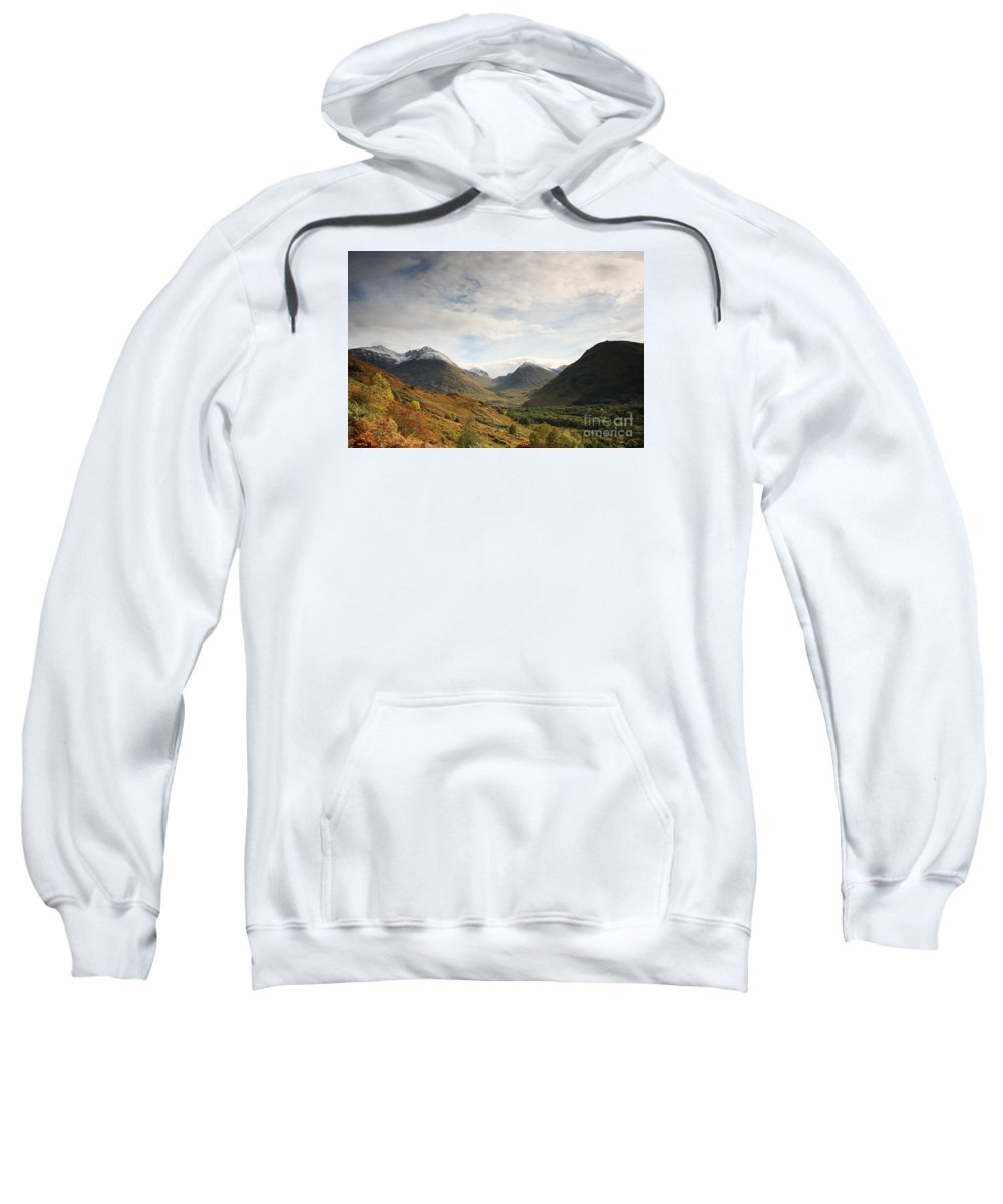 Blue Sweatshirt featuring the photograph View Of The Glencoe Mountains by Deborah Benbrook