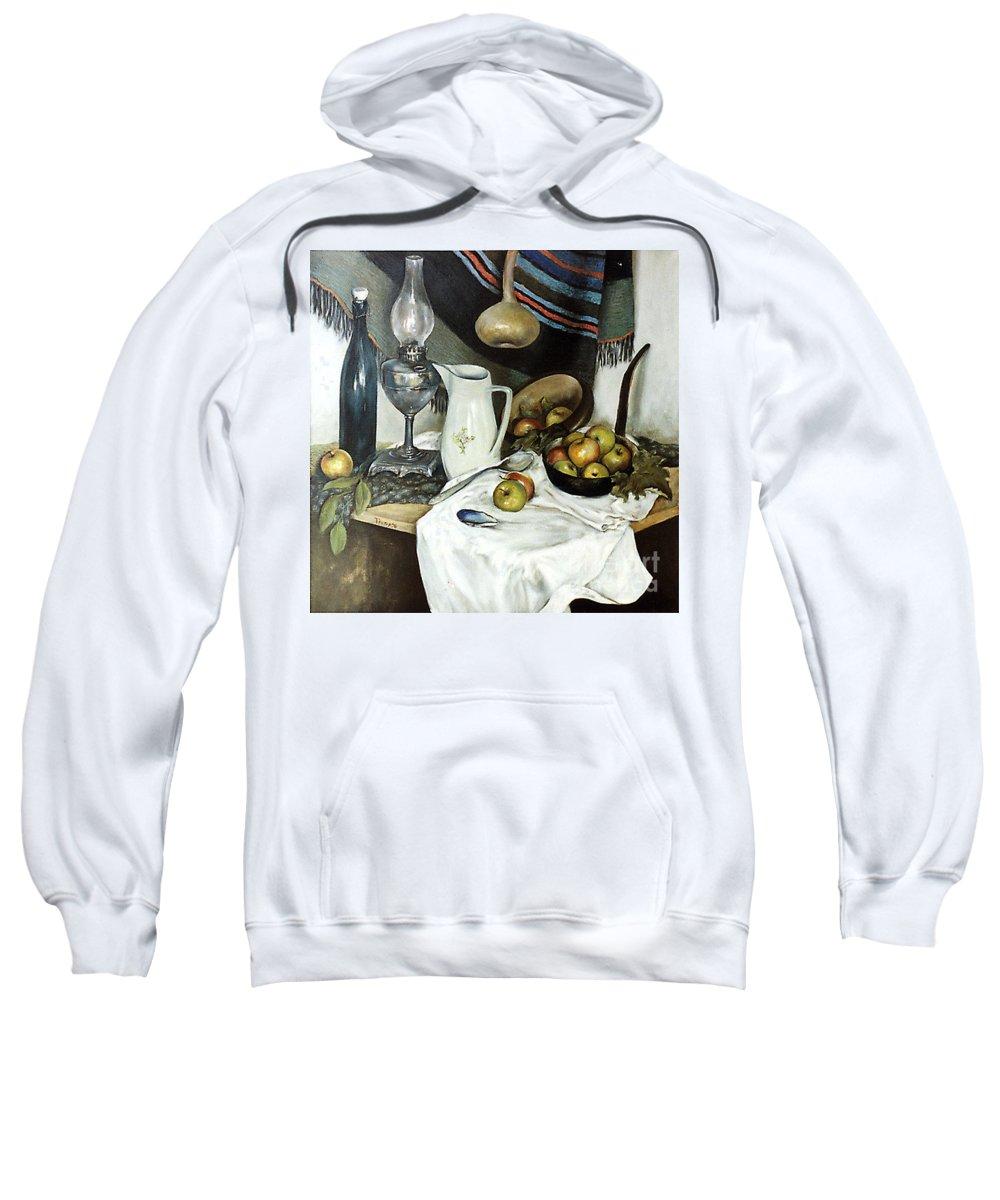 Still Life Sweatshirt featuring the painting Village Still Life by Grigor Malinov