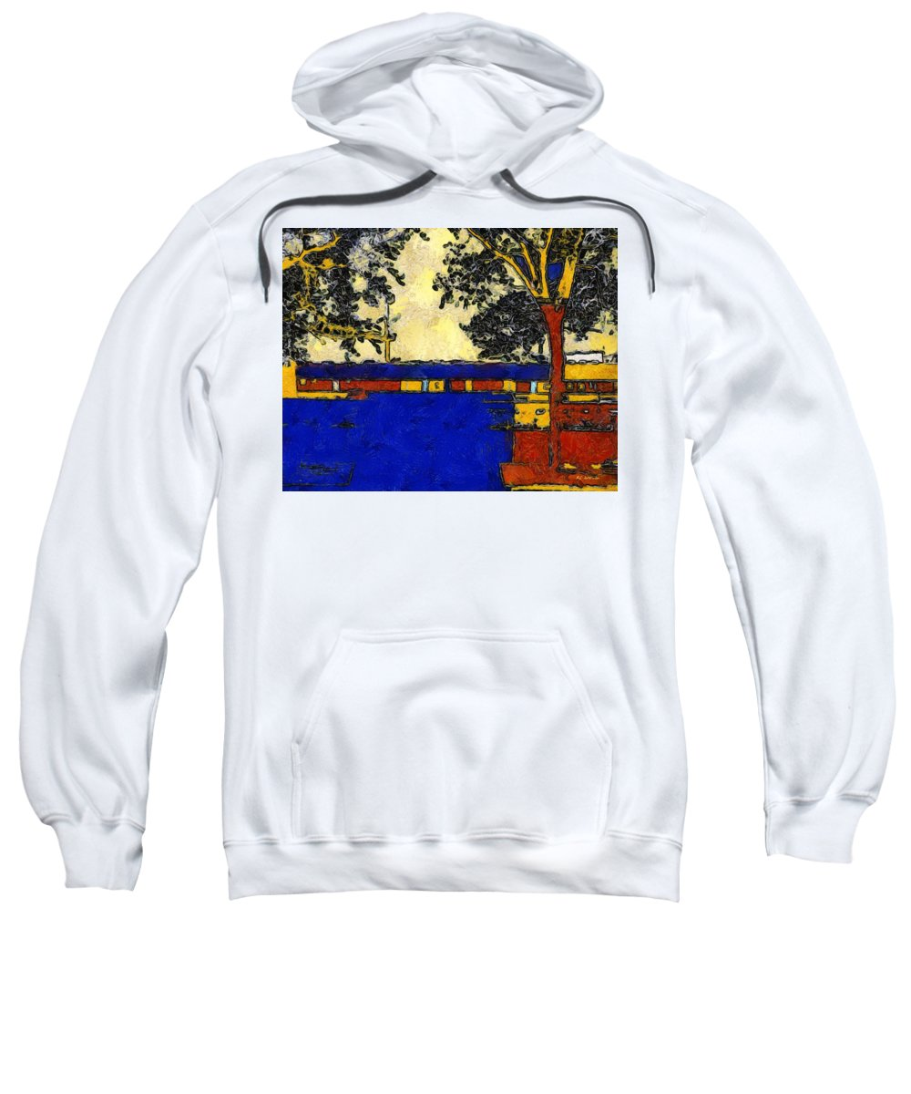 Landscape Sweatshirt featuring the painting Vincent's Japanese Garden by RC DeWinter