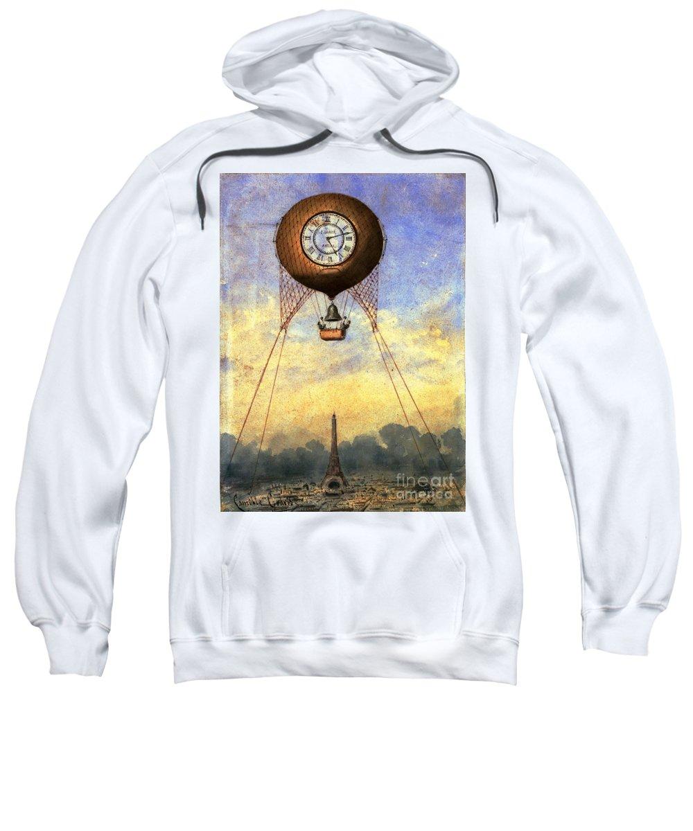 Vintage Hot Air Balloon Over Eiffel Tower Sweatshirt featuring the photograph Vintage Hot Air Balloon Over Eiffel Tower by Deb Schense