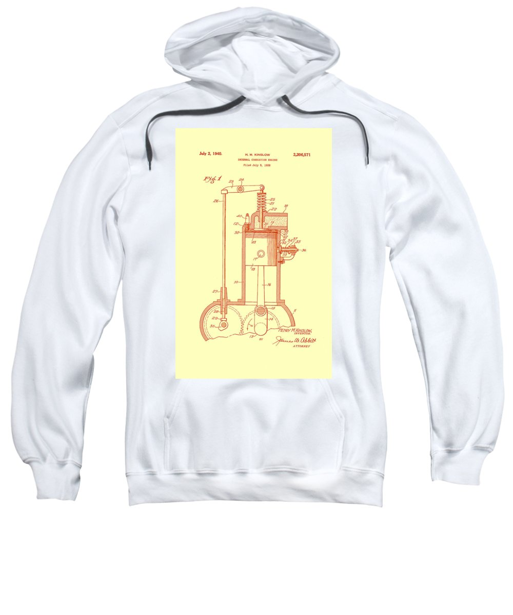 Patent Sweatshirt featuring the drawing Vintage Internal Combustion Engine Patent 1940 by Mountain Dreams