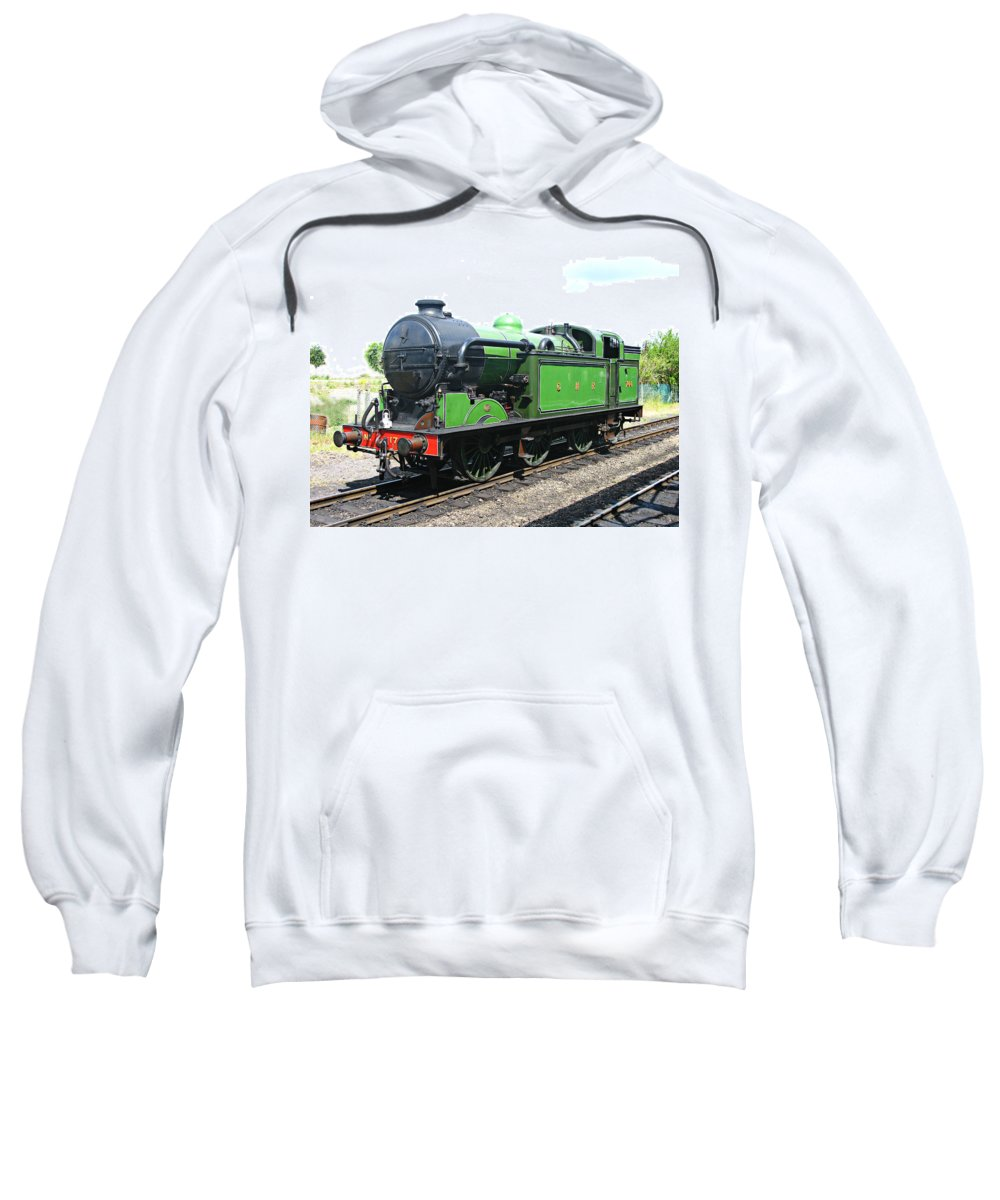 Train Sweatshirt featuring the photograph Vintage Steam Train In Green by Tom Conway