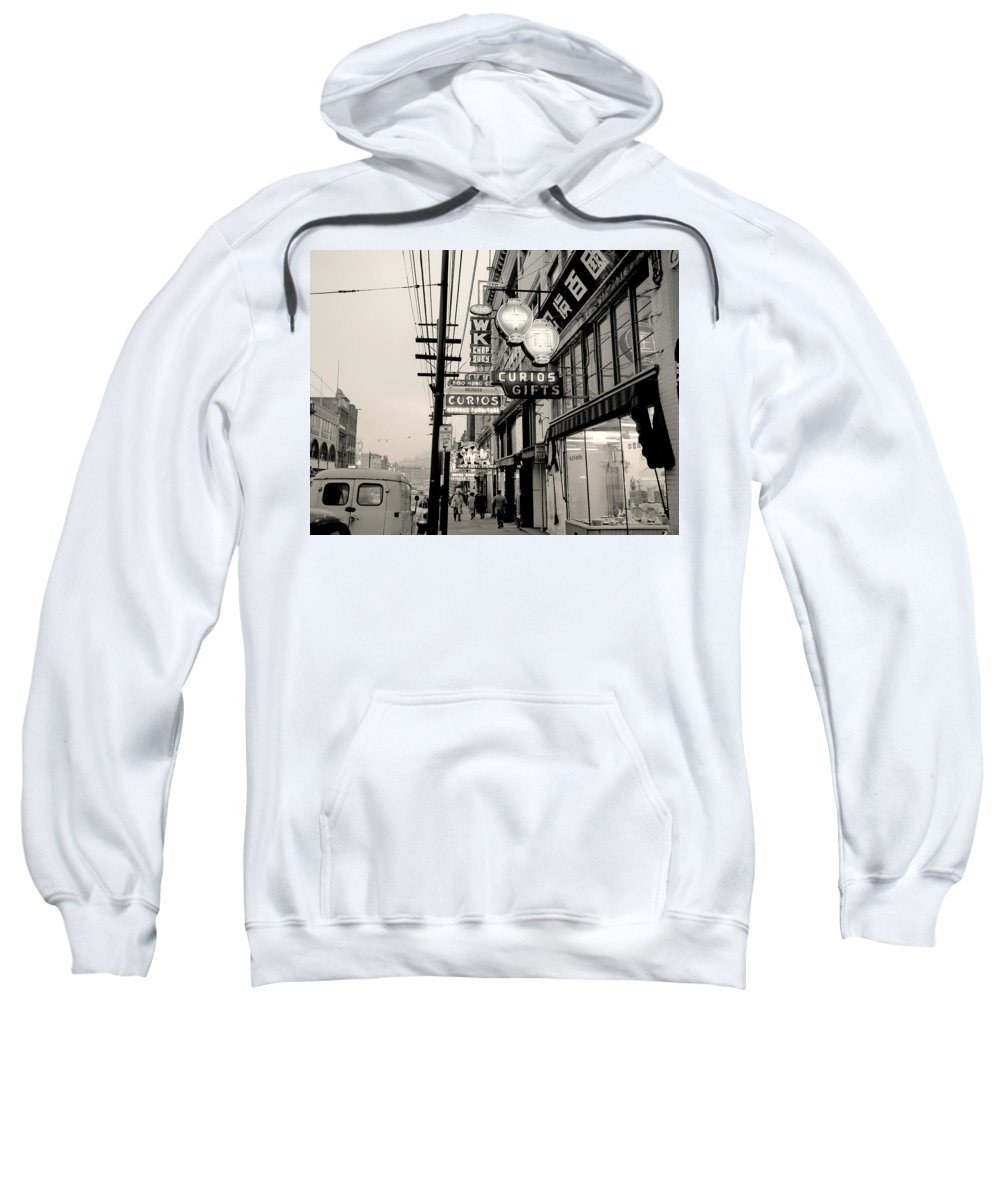 Vancouver Sweatshirt featuring the photograph Vintage Vancouver Chinatown 1961 by Mountain Dreams